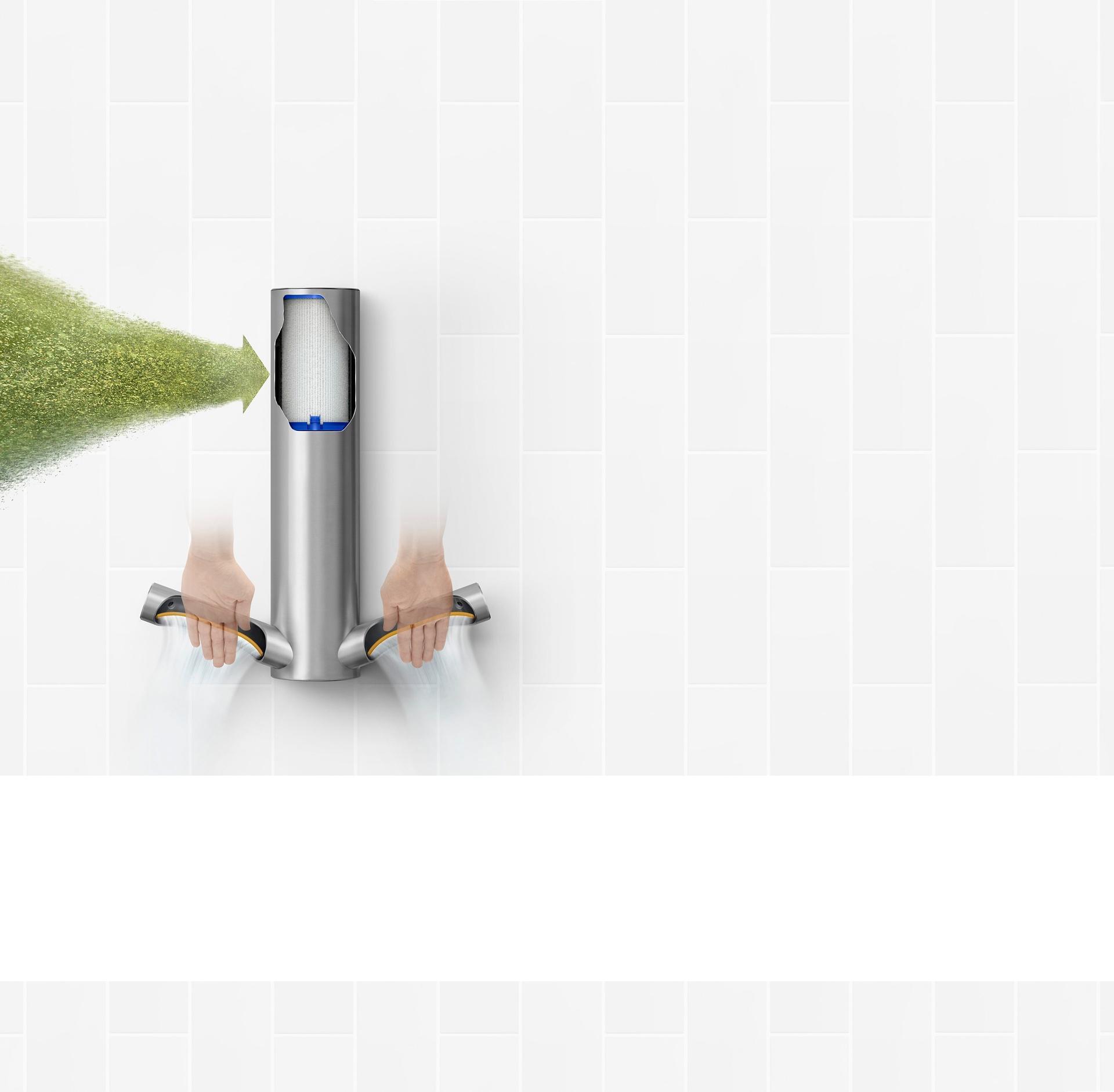 Dyson Airblade 9kJ hand dryer cutaway revealing a HEPA filter