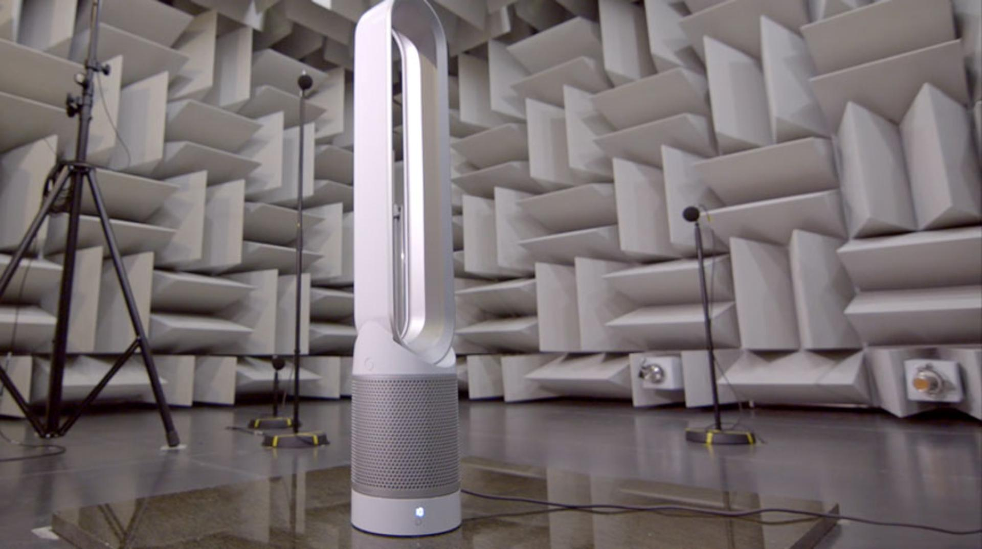 Dyson purifier in acoustic chamber