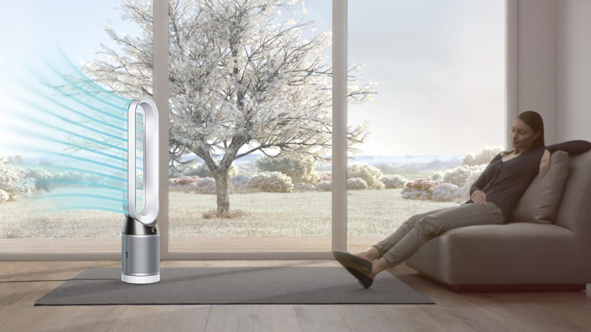 The Dyson Pure Cool purifier fan in diffused air projection, indoors