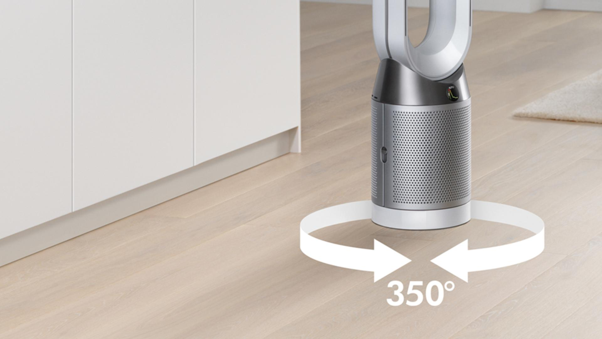 Graphic showing how the Dyson Pure Cool purifier turns 350 degrees