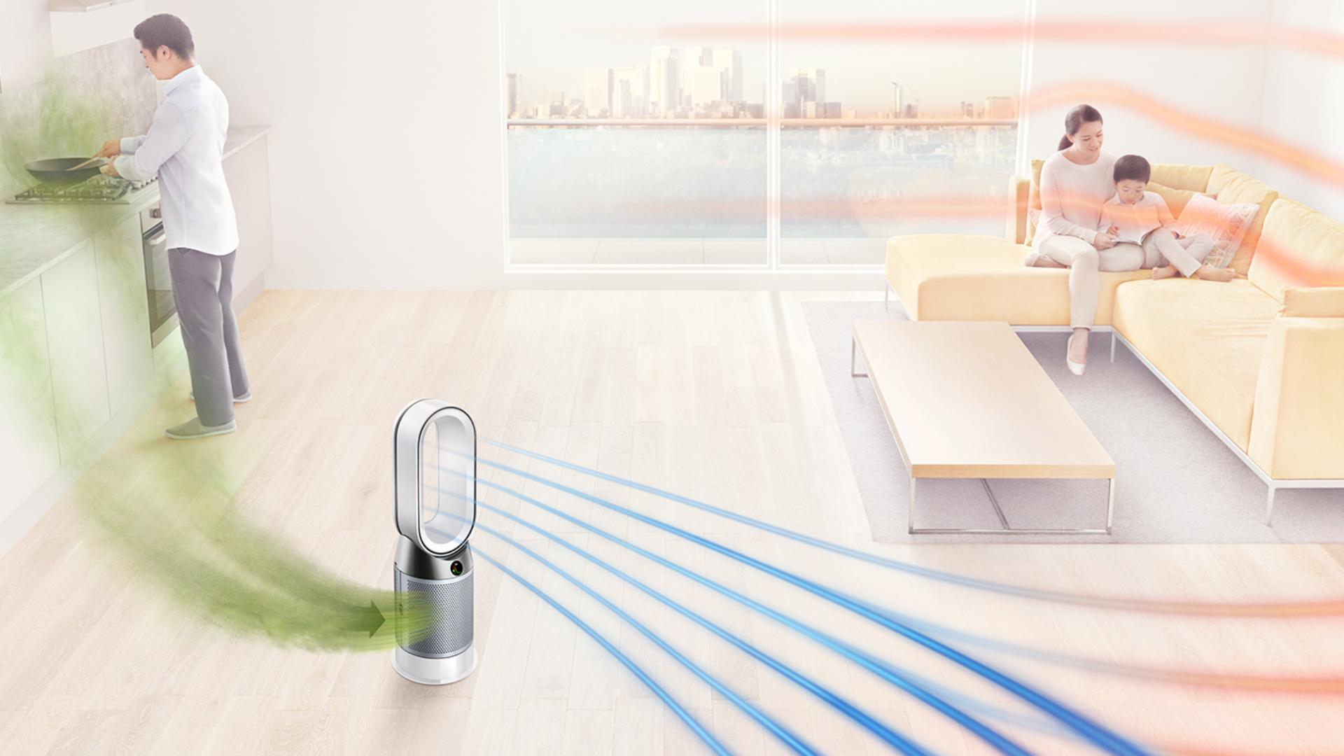 Dyson Pure Hot+Cool purifier in living space