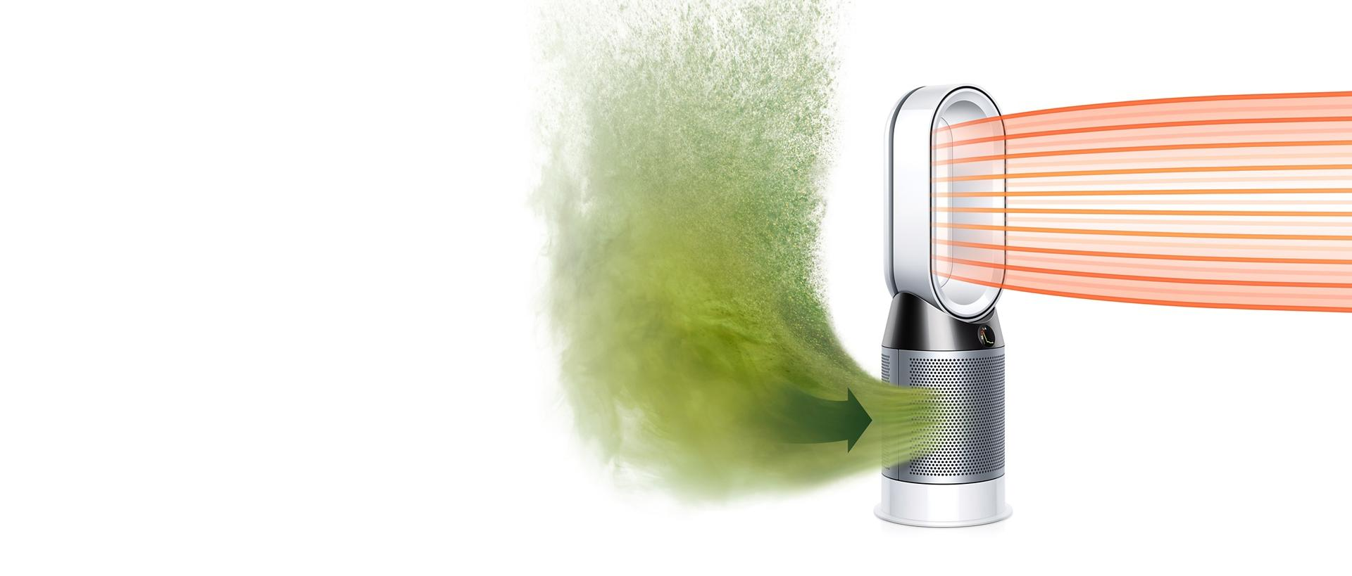 Dyson Pure Hot+Cool purifier fan ingesting dirty air and projecting heated, purified air