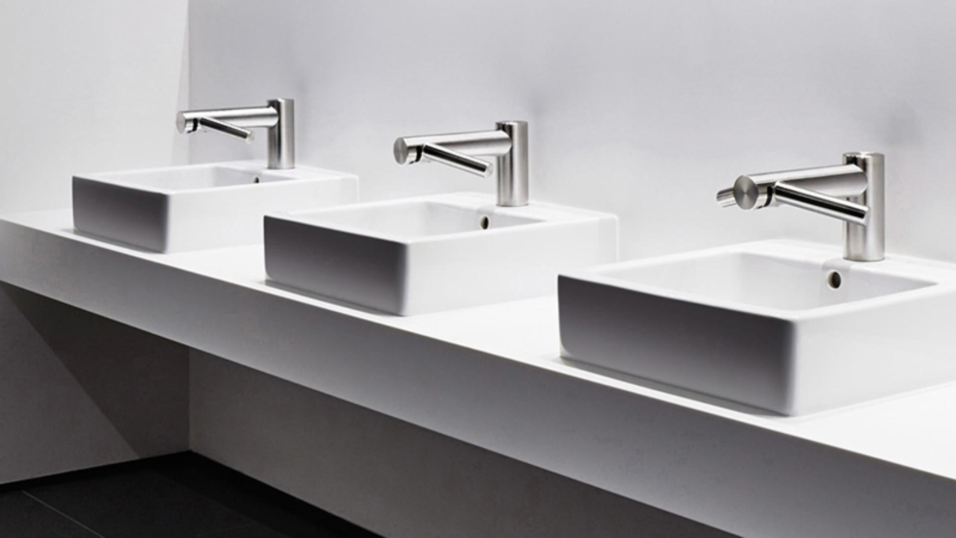 Three Dyson Airblade Wash+Dry hand dryers