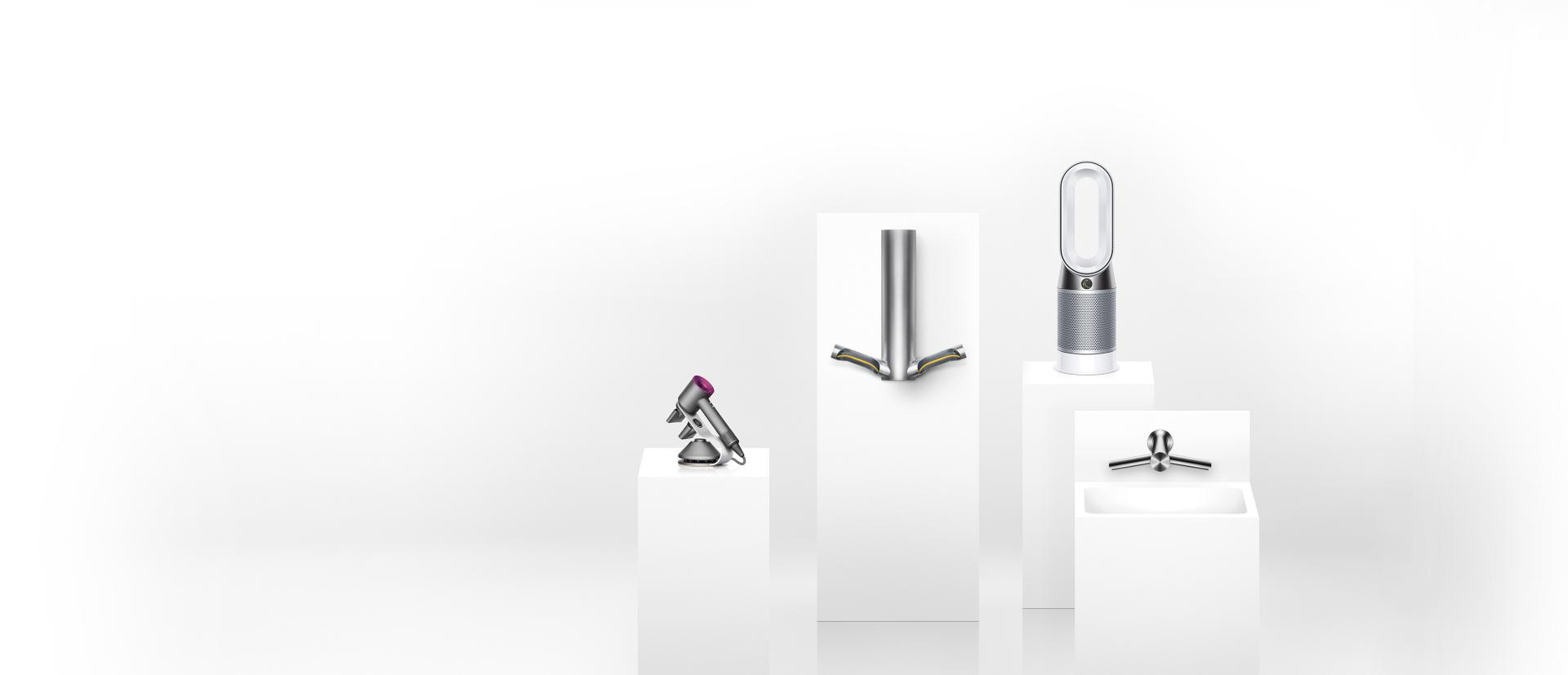 Podium of Dyson products beneath Cu-Beam light