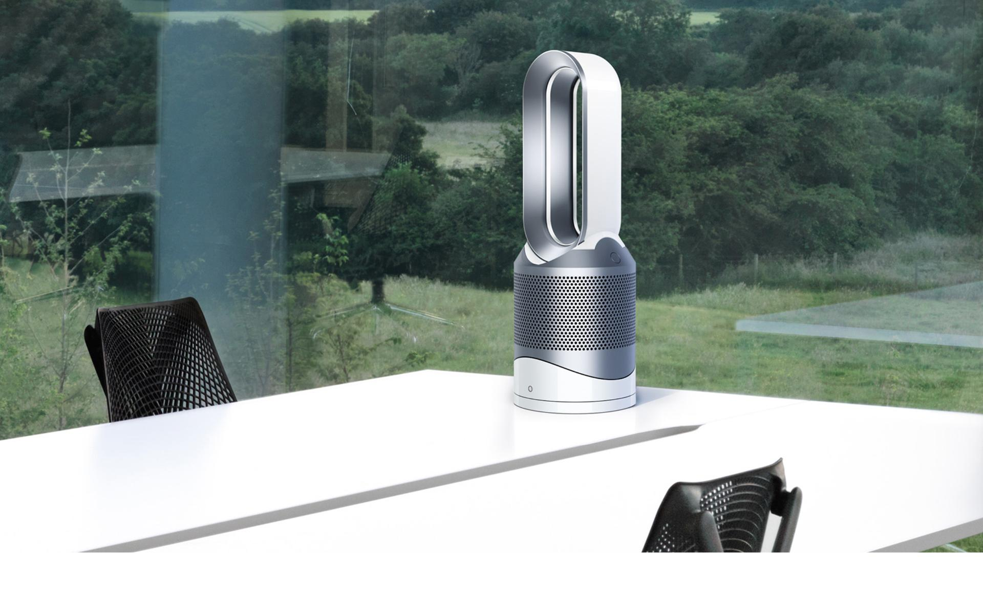 Dyson Pure Hot+Cool on desk