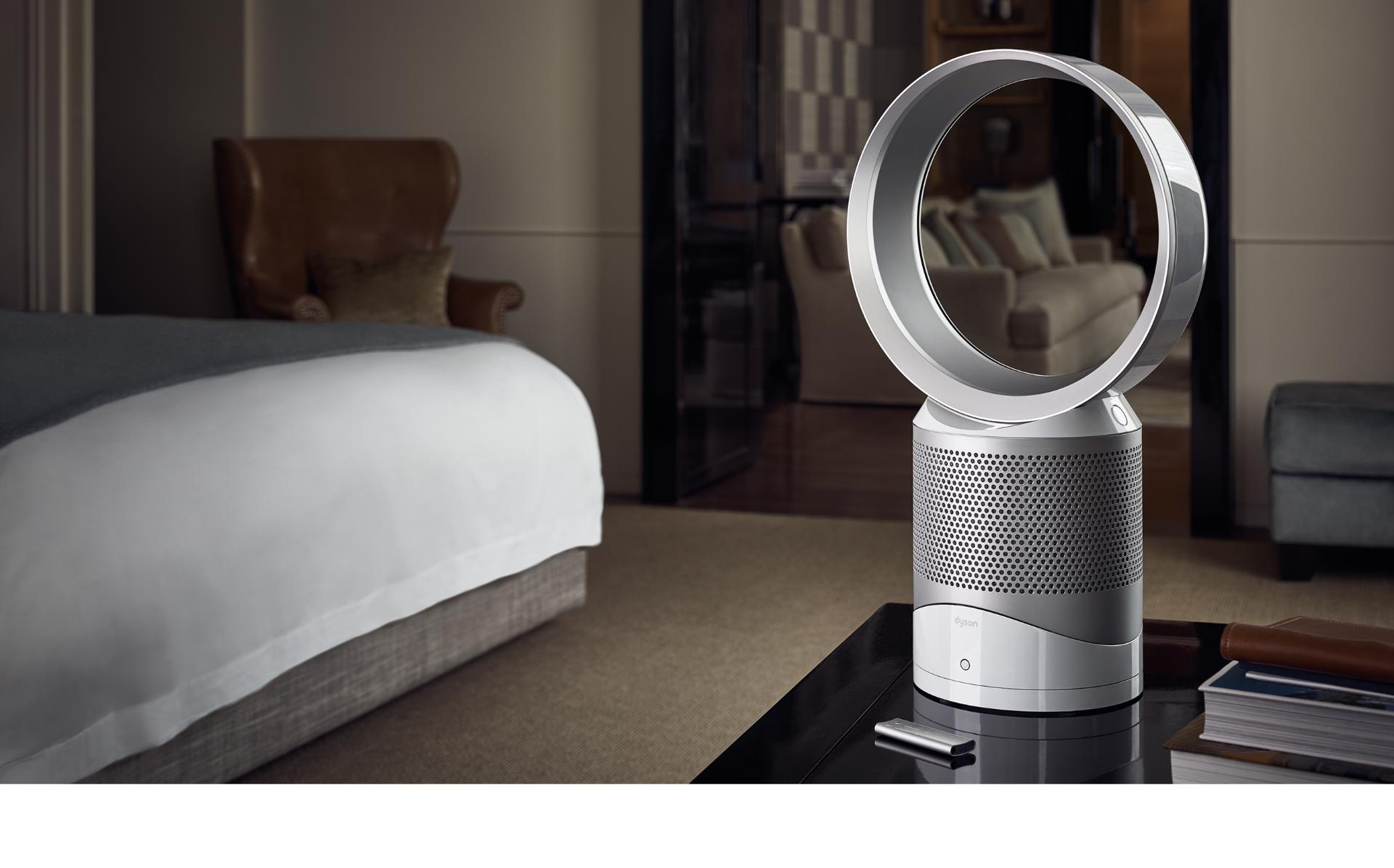 Dyson purifier on desk in hotel room