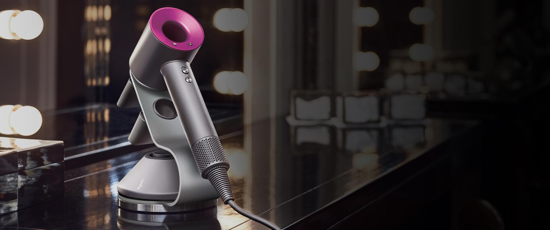 Dyson Supersonic hair dryer on hotel stand