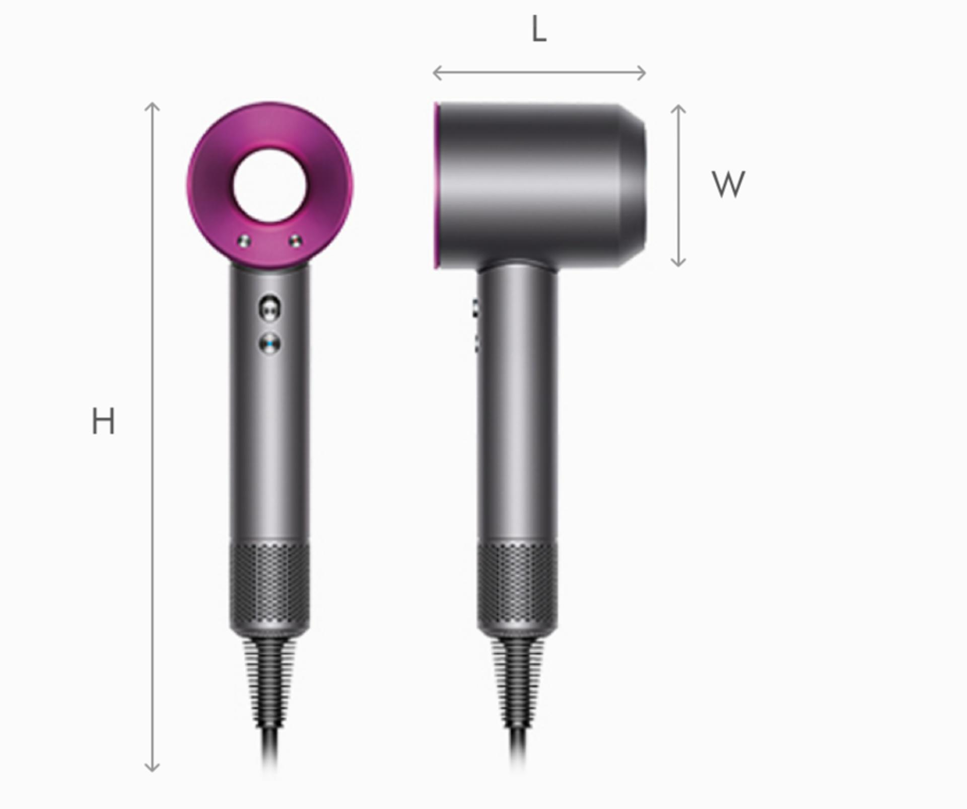 Illustration of Dyson Supersonic hair dryer dimensions