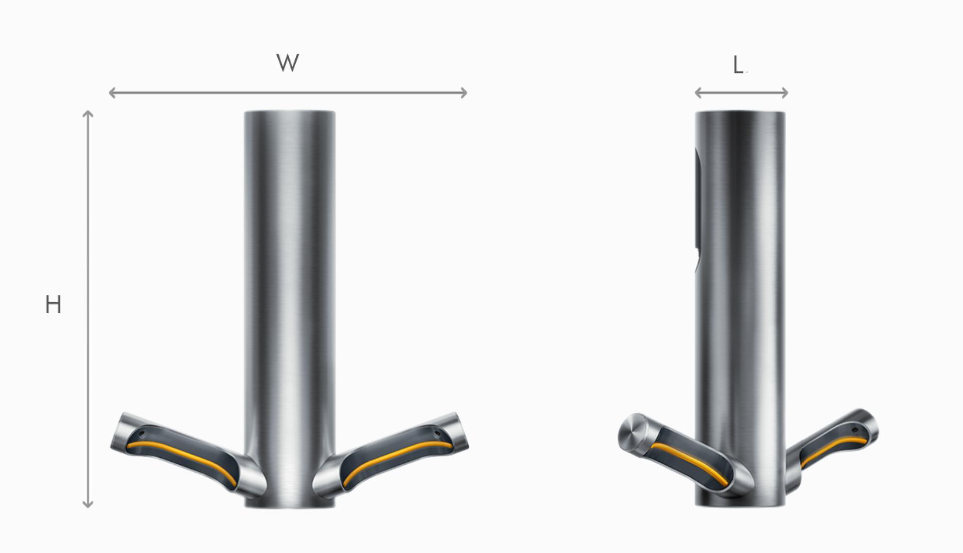 Dyson Airblade 9kJ el kurutma makinesi boyutlarının çizimi