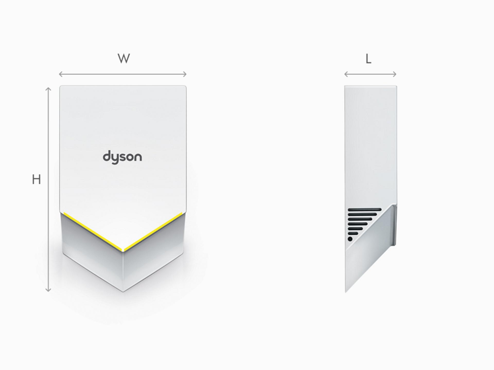 Ilustracja wymiarów białej suszarki do rąk Dyson Airblade V