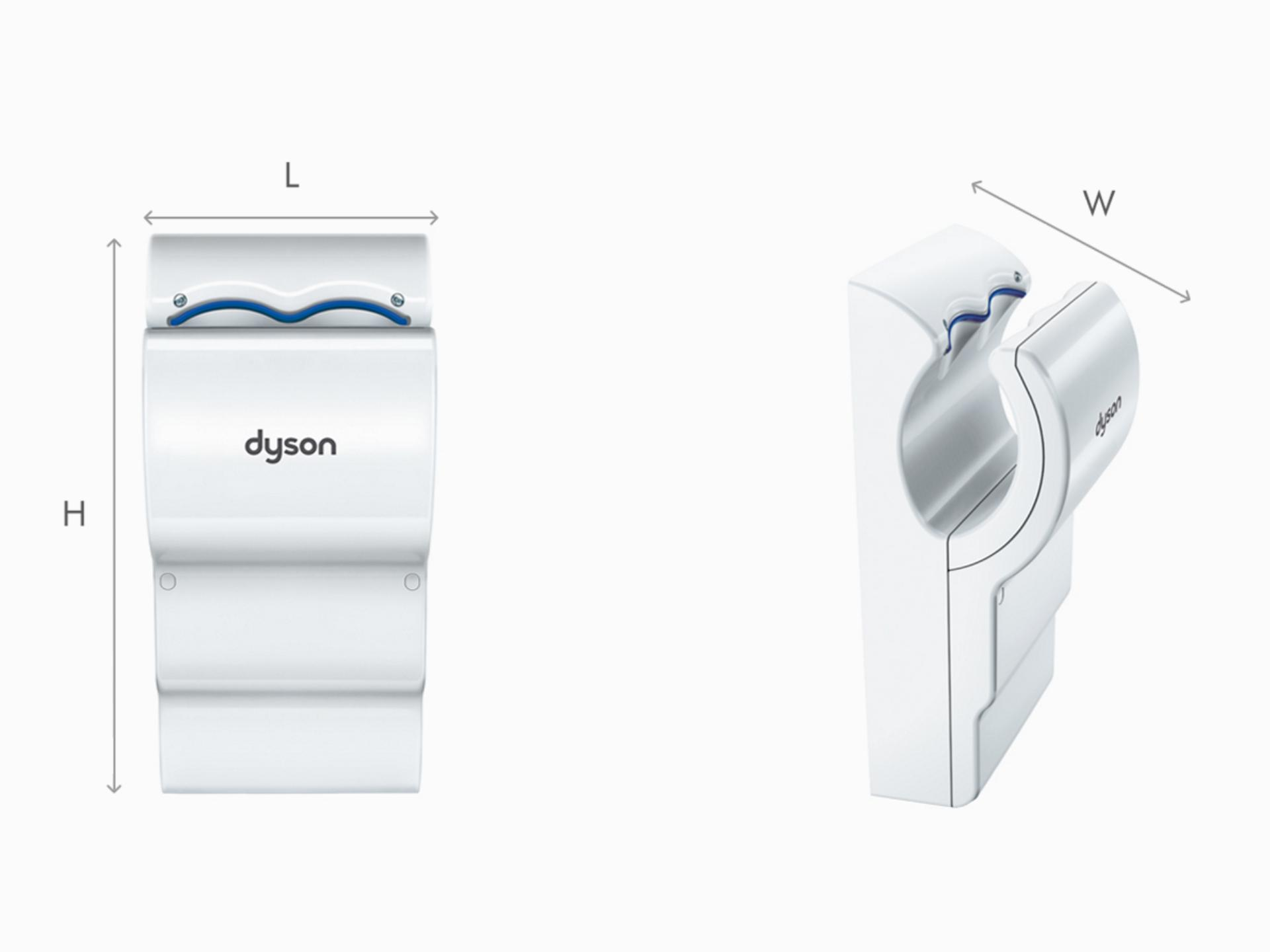 Illustration of Dyson Airblade dB grey hand dryer dimensions