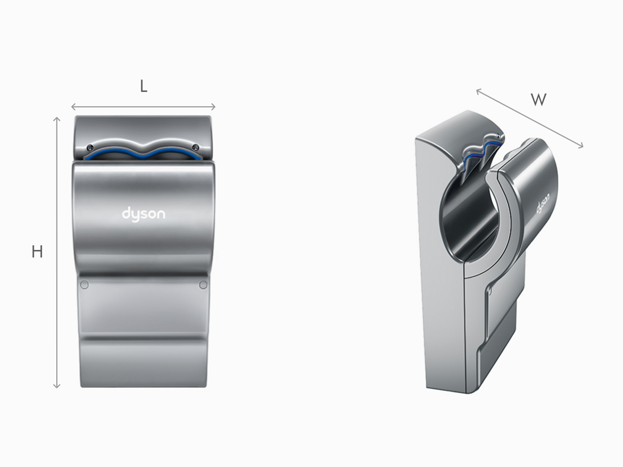 Illustration of Dyson Airblade dB dimensions