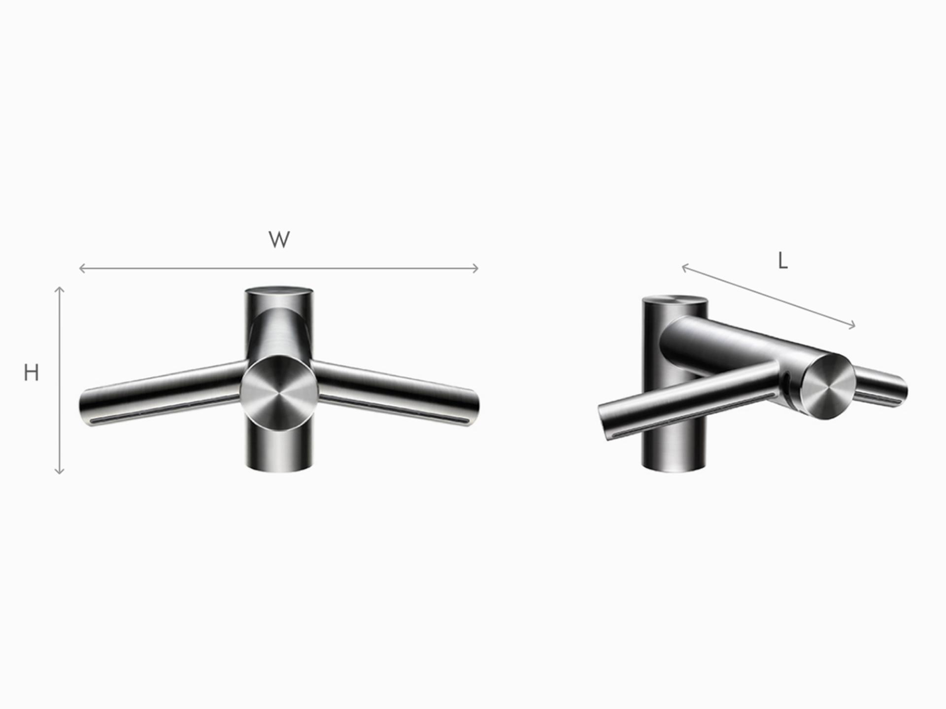 Illustration of Dyson Airblade Wash+Dry short hand dryer dimensions