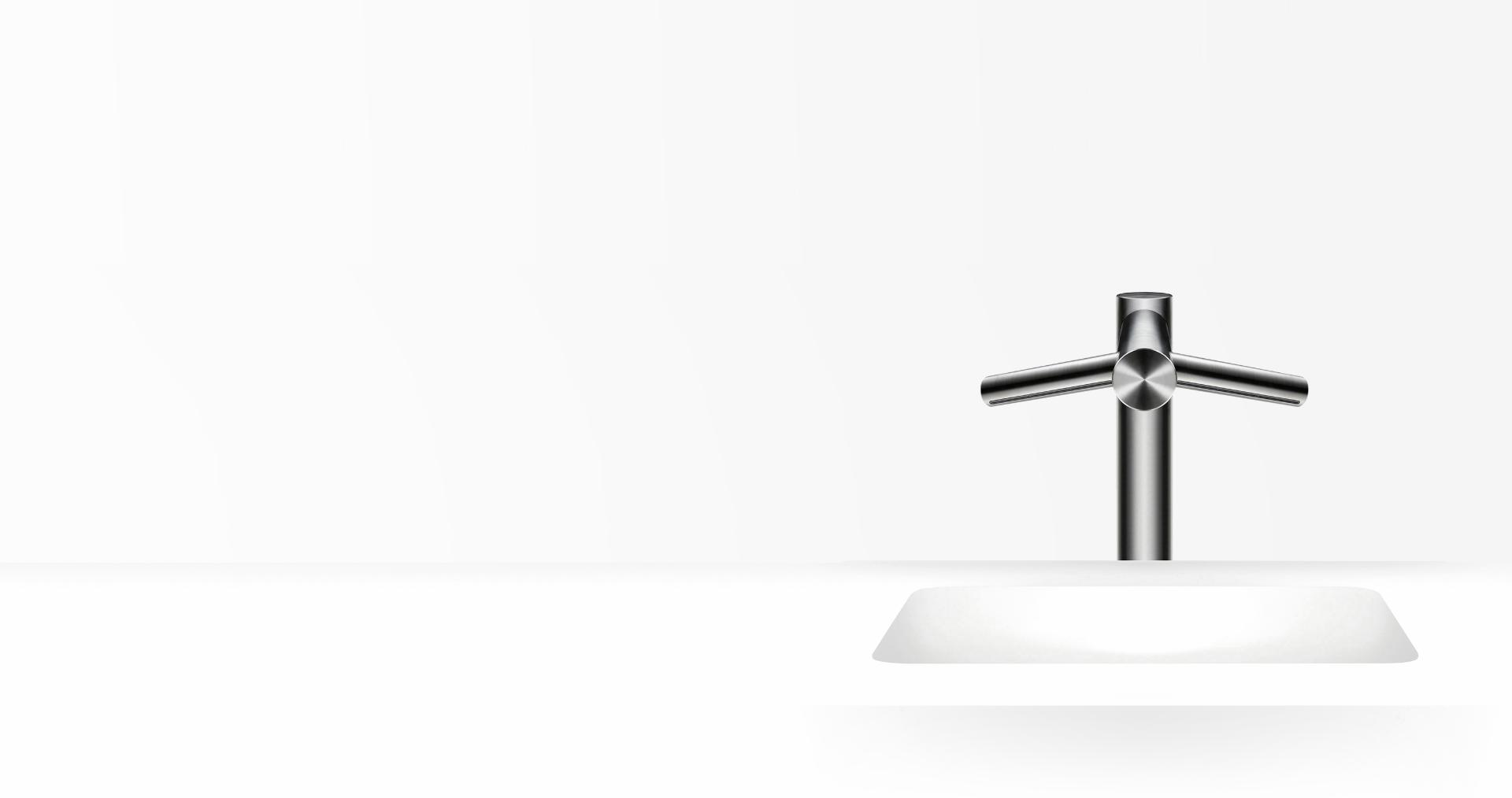 Dyson Airblade Wash+Dry tall hand dryer over sink