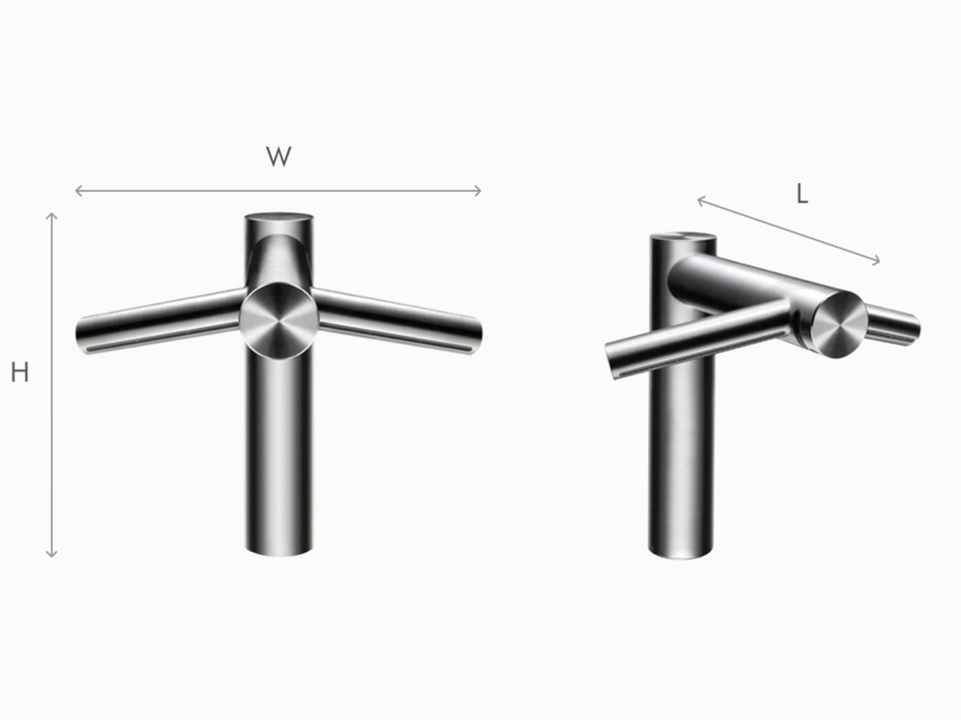 Illustration of Dyson Airblade Wash+Dry tall hand dryer dimensions
