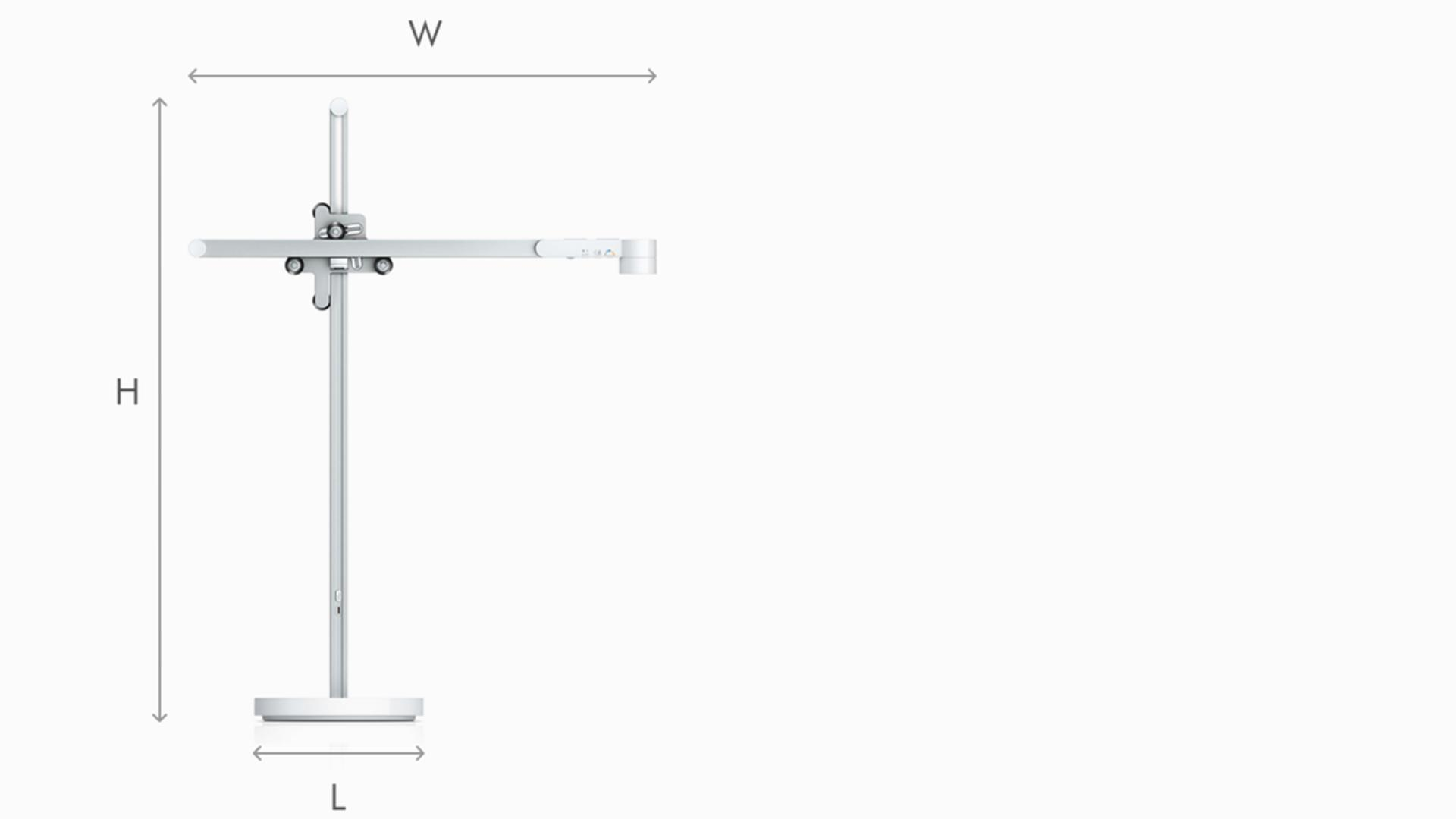 Illustration of Dyson Lightcycle task light white dimensions
