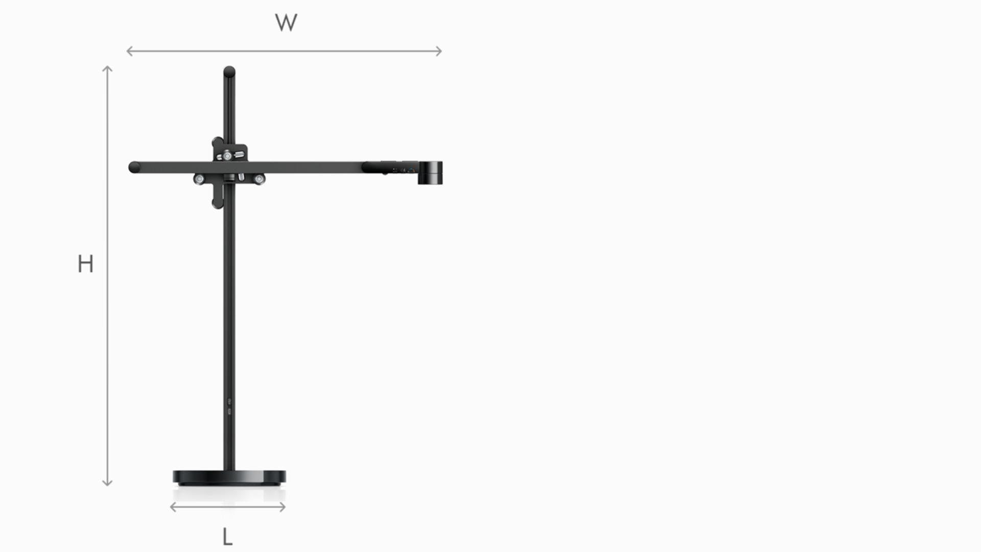 Illustration of Dyson Lightcycle task light black dimensions