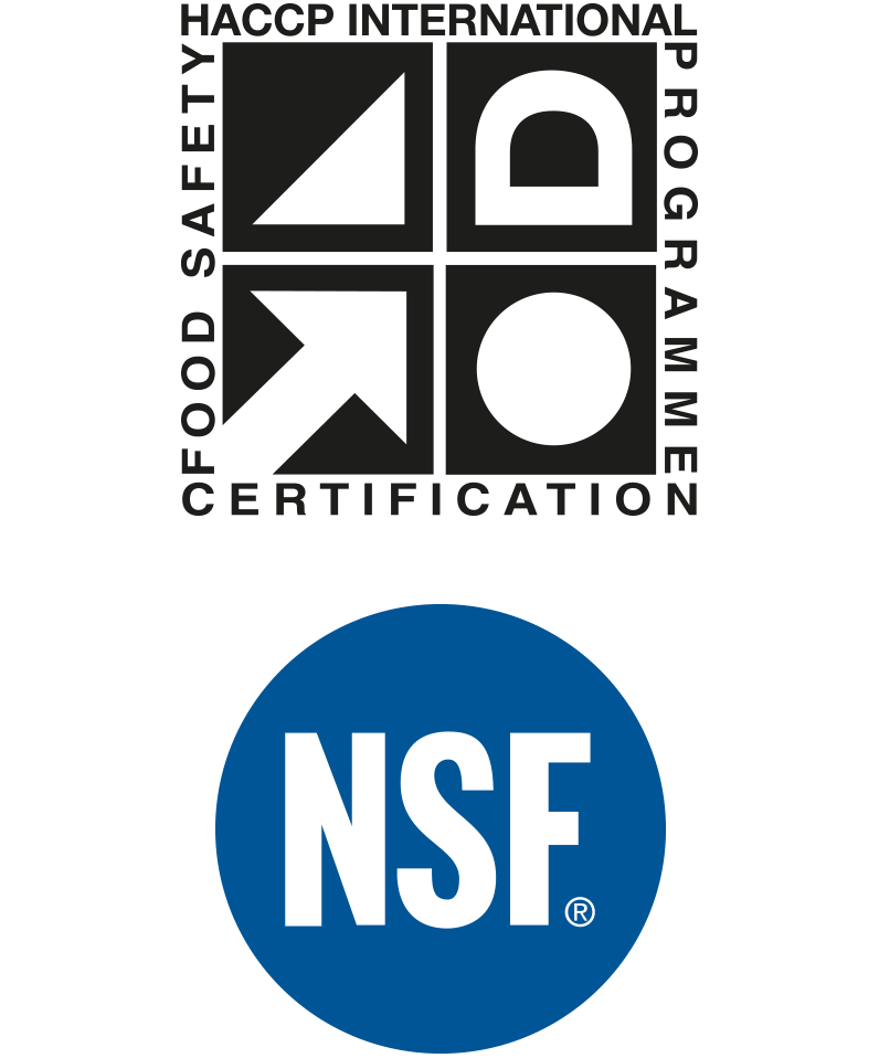 HACCP certification and NSF logo
