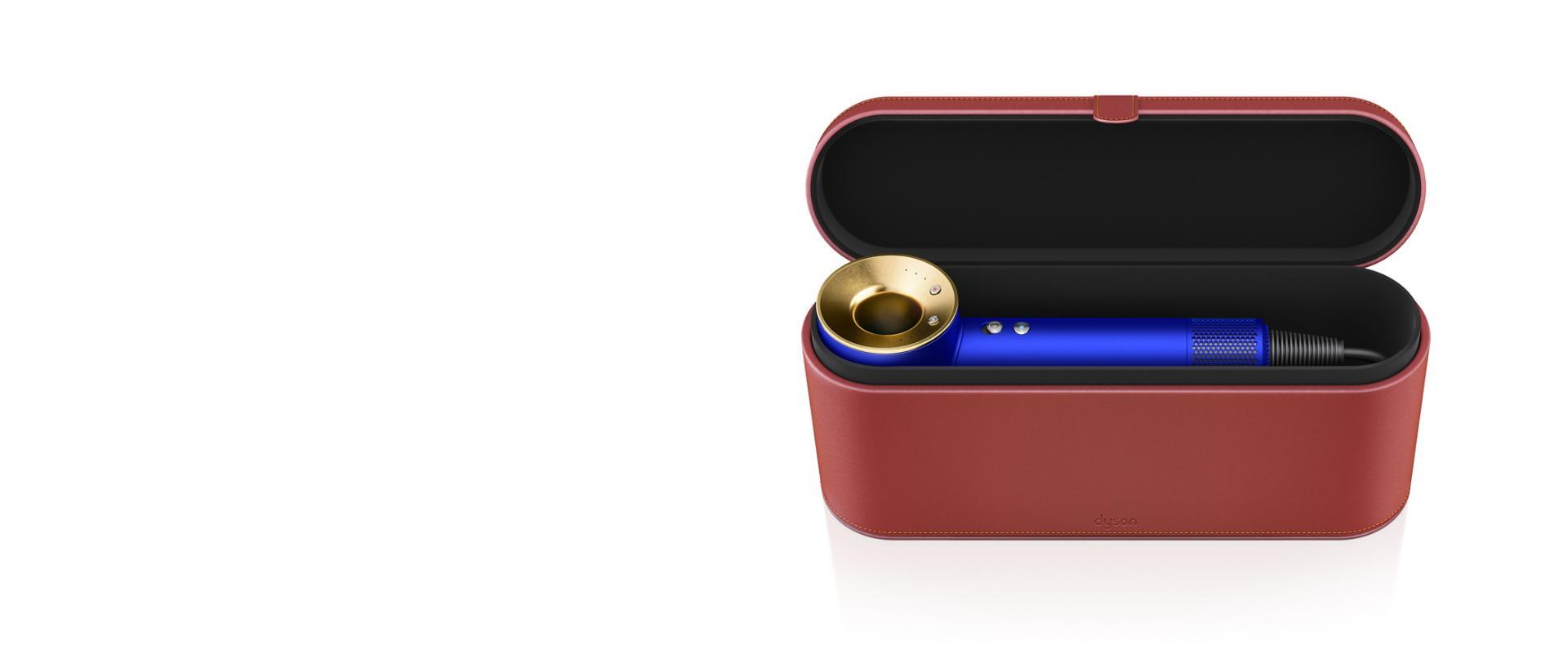 suszarka Dyson Supersonic w kolorze niebieski/złoto w czerwonym etui