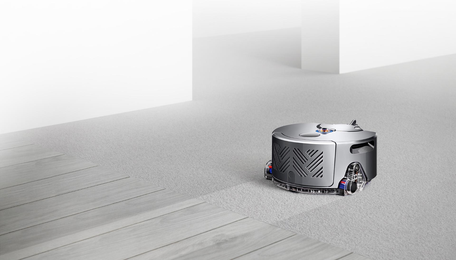 Robot vacuum cleaner on carpet and hard floor