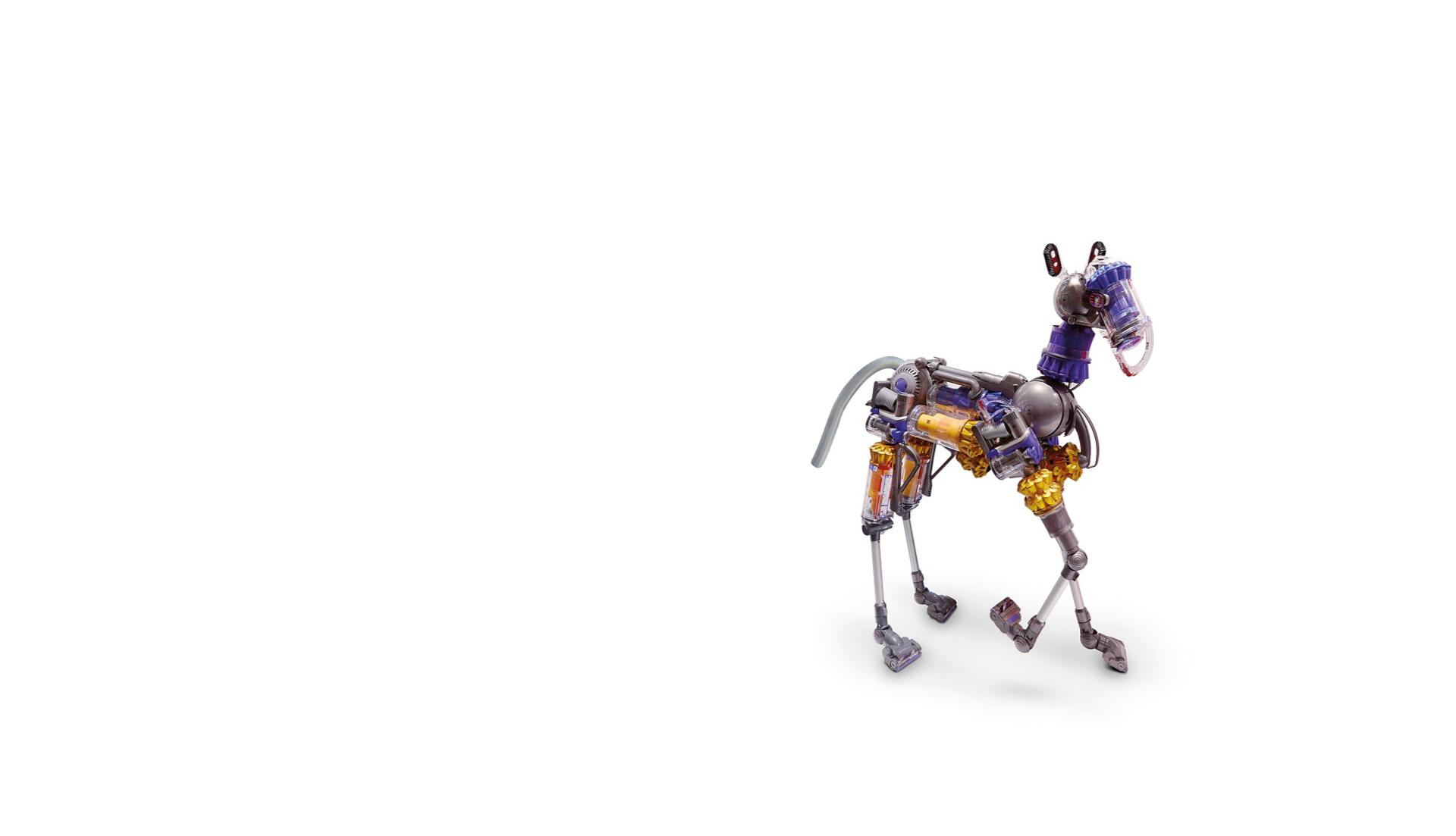 Dyson vacuum cleaners put together to form a horse