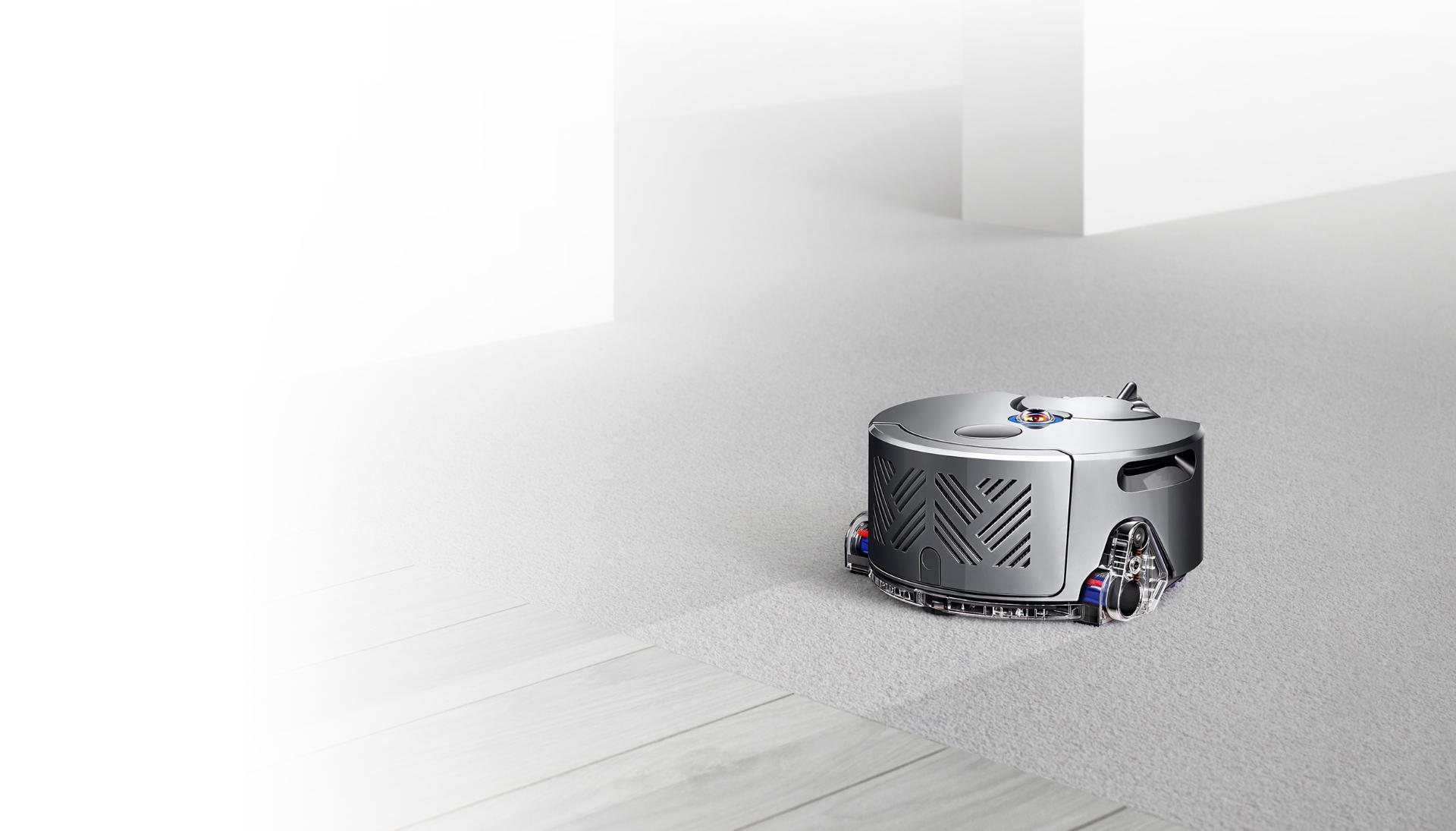 Dyson robot vacuum on carpetec floor