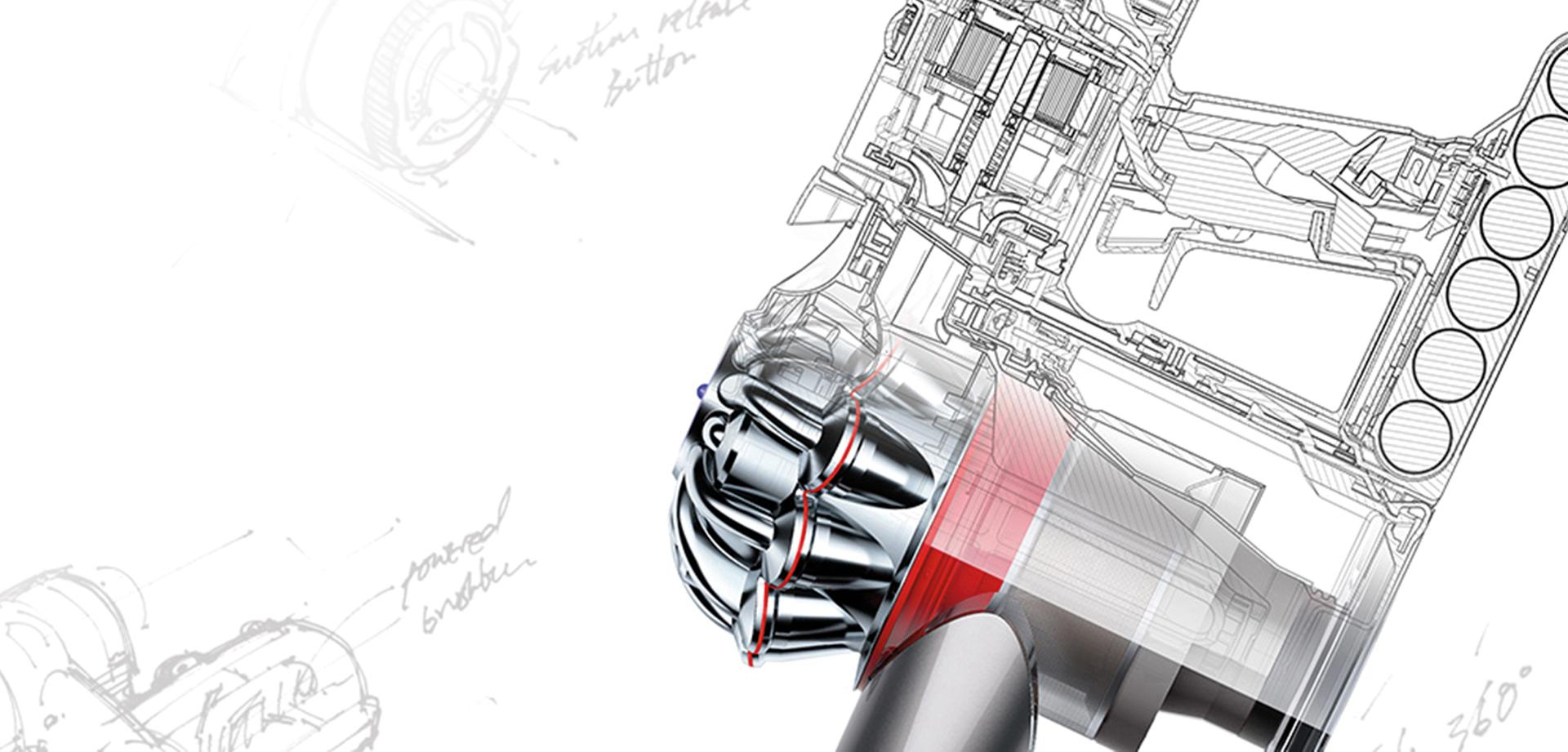 Sketch inside a Dyson stick vacuum cleaner