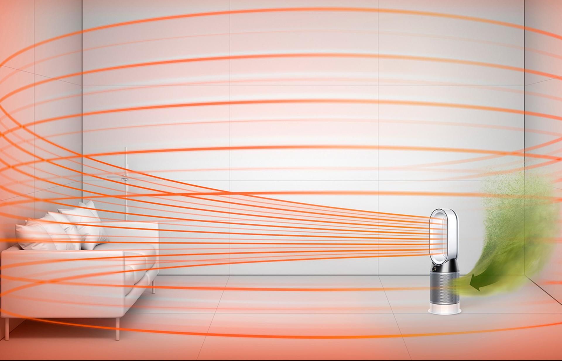 Dyson purifier fan heater circulating heat around the room evenly
