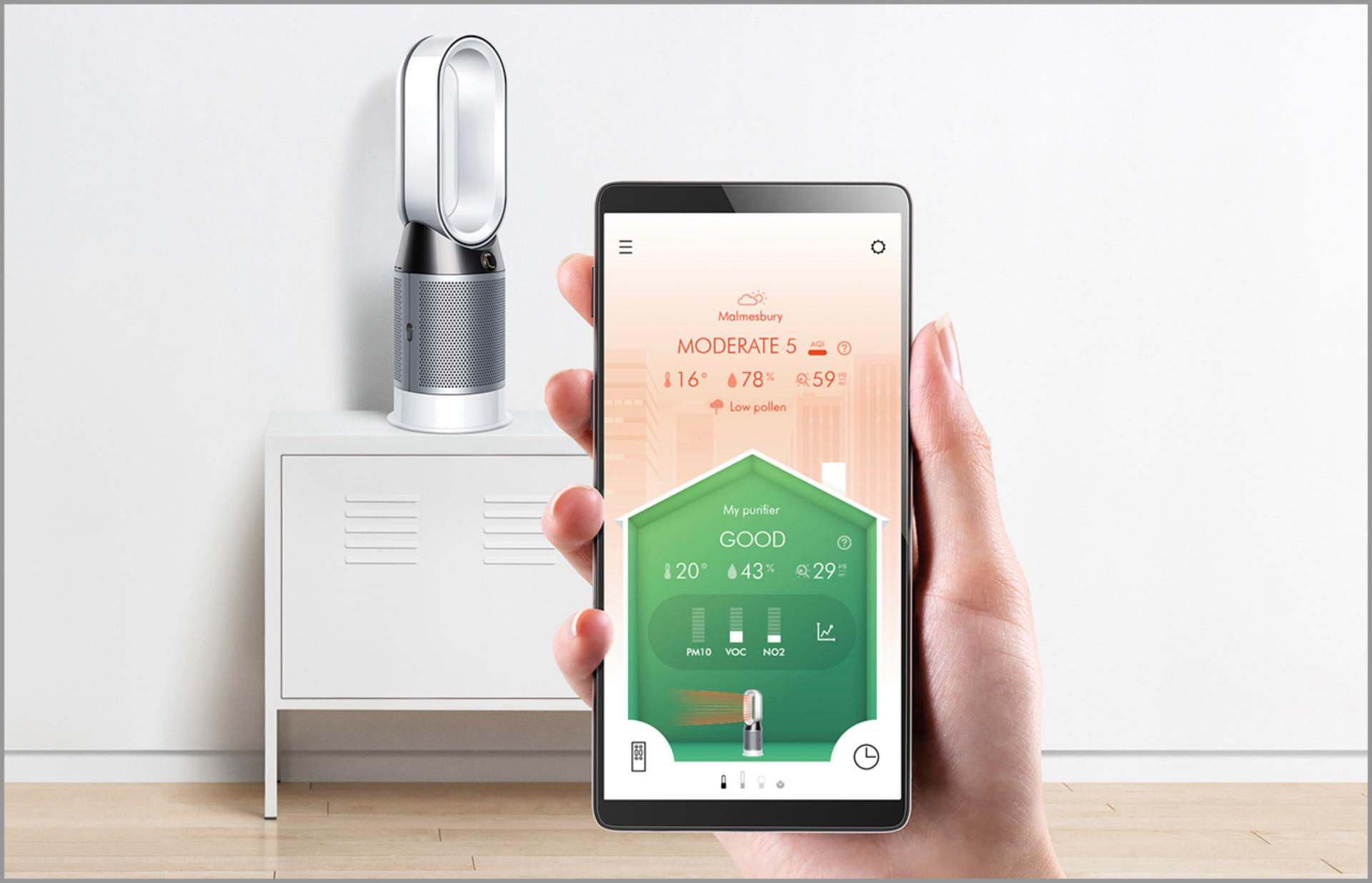 Close-up of Dyson Link app in front of purifier fan heater