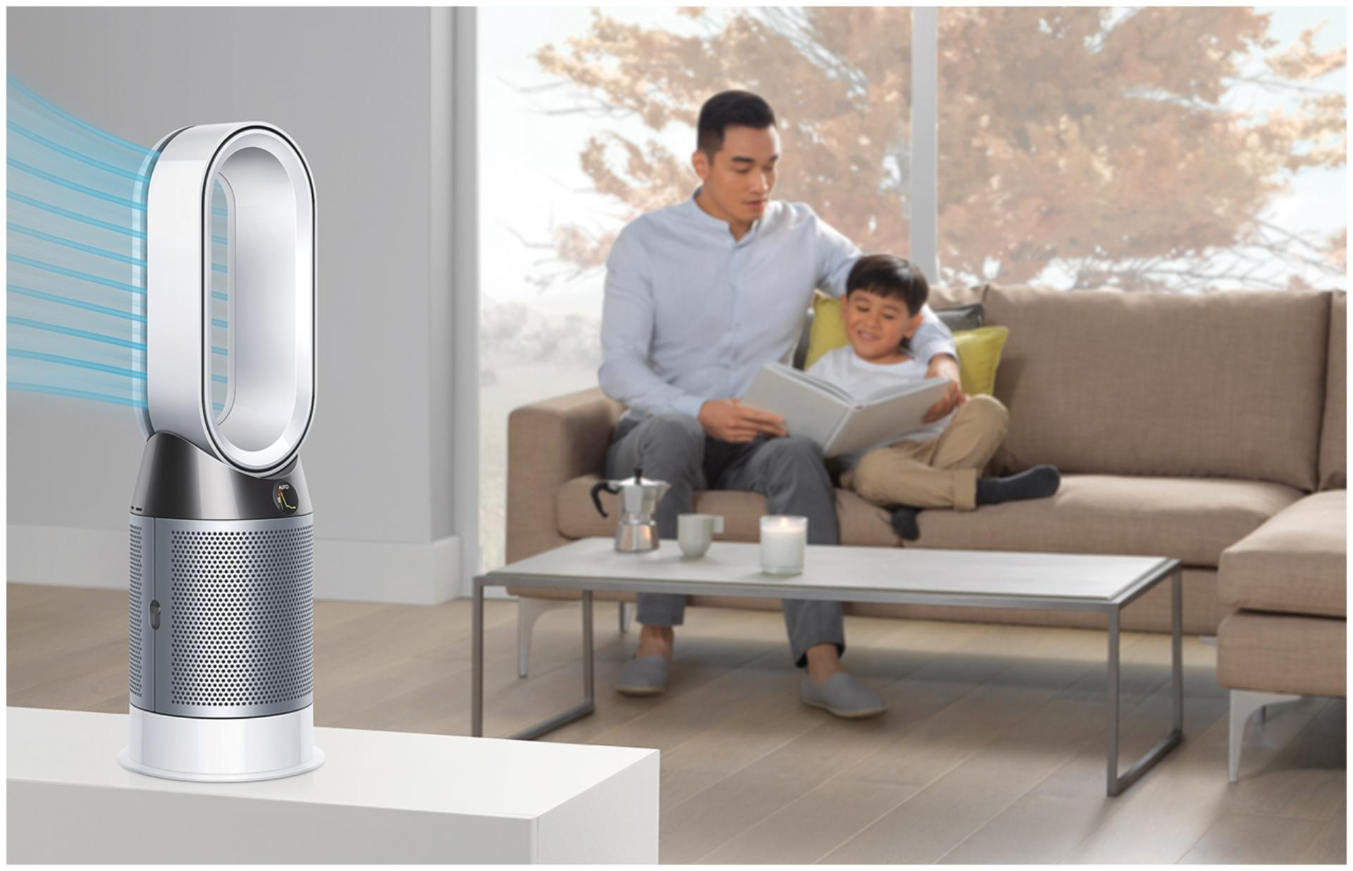 Dyson purifier fan heater in diffused mode in family room