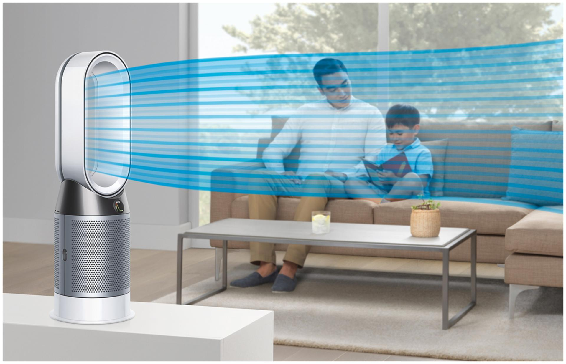 Dyson purifier fan heater projecting cold air to father and son