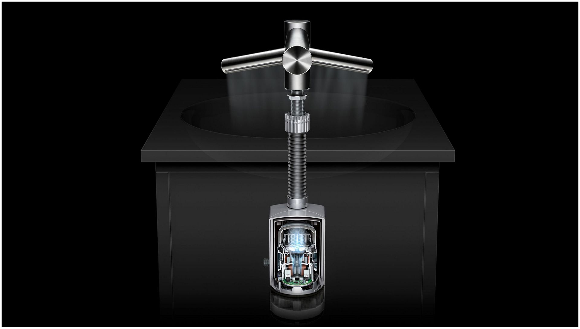 The Dyson Airblade Wash+Dry tap with the motor exposed