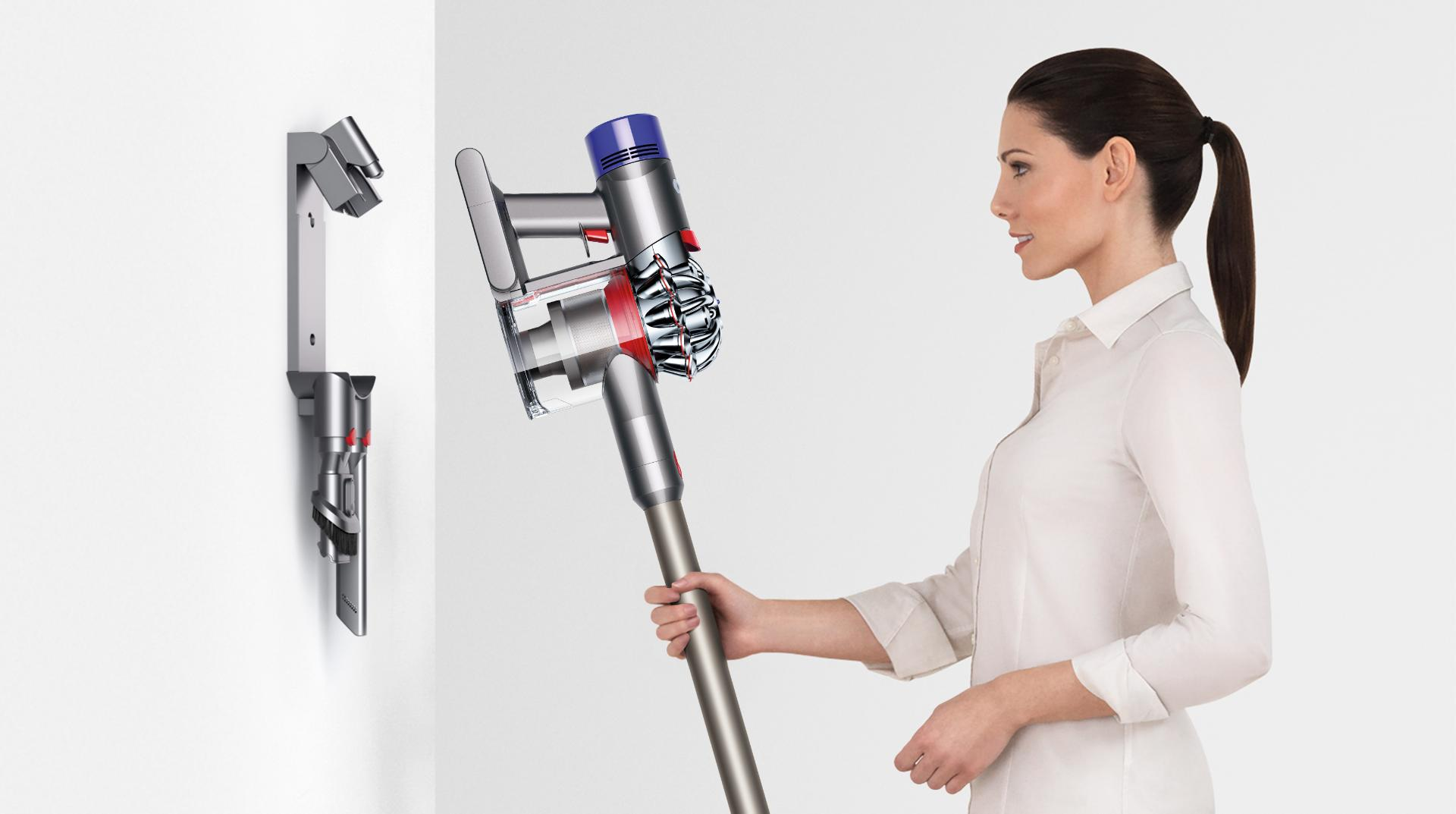 The wall mounted charging dock recharges your Dyson V8™ vacuum. So it's ready whenever you need it, and easy to store as soon as you've finished.