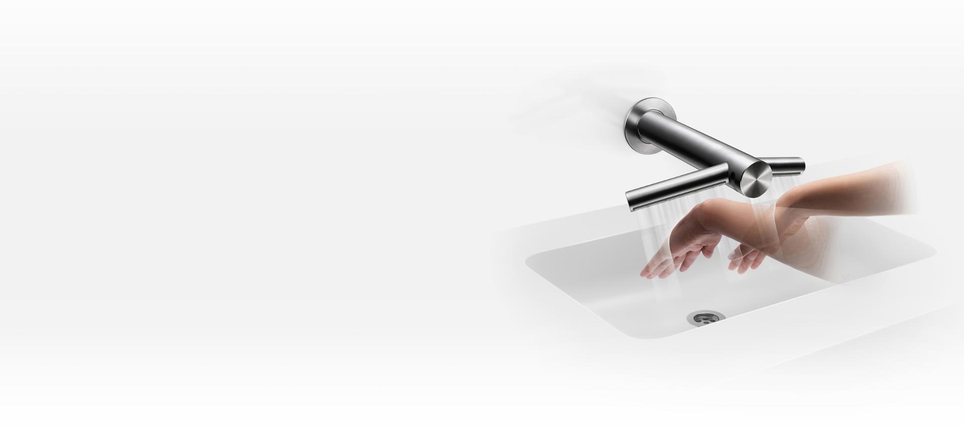 Kezeket szárító Dyson Airblade Wash + Dry fali kézszárító