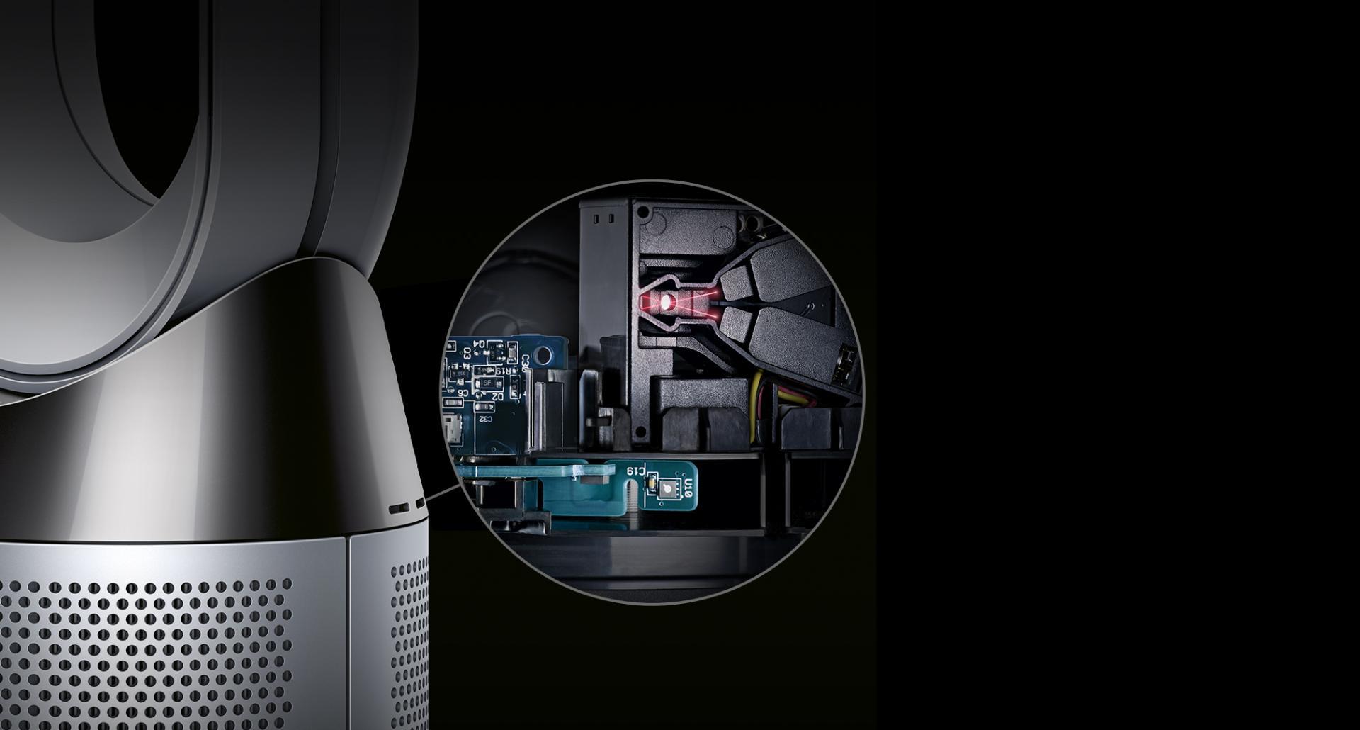 صورة مُقرّبة لآليات العمل الداخلية للمروحة المُنقية للهواء Dyson Pure Cool™