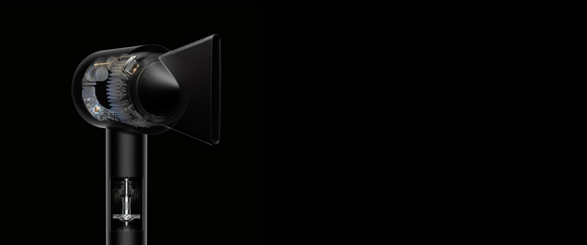 צילום רנטגן של חלקו הפנימי של מייבש שיער Dyson Supersonic, הכולל מנוע