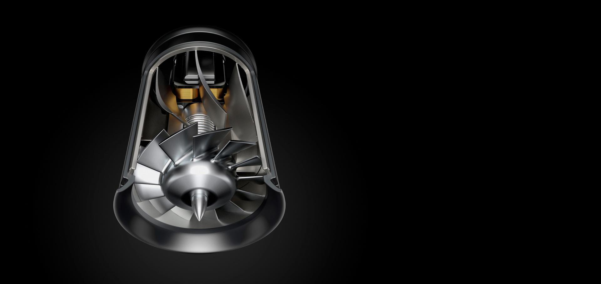 מבט תחתון על מנוע V9 הדיגיטלי של Dyson והמדחף