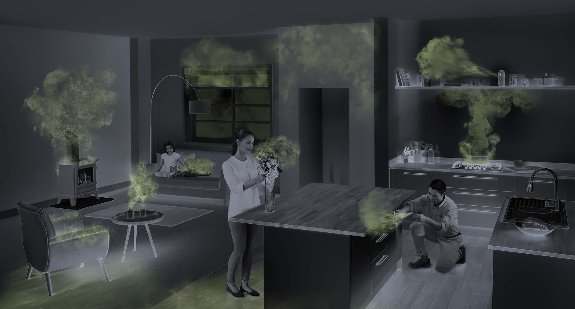 Demonstration of harmful pollutants around a family room