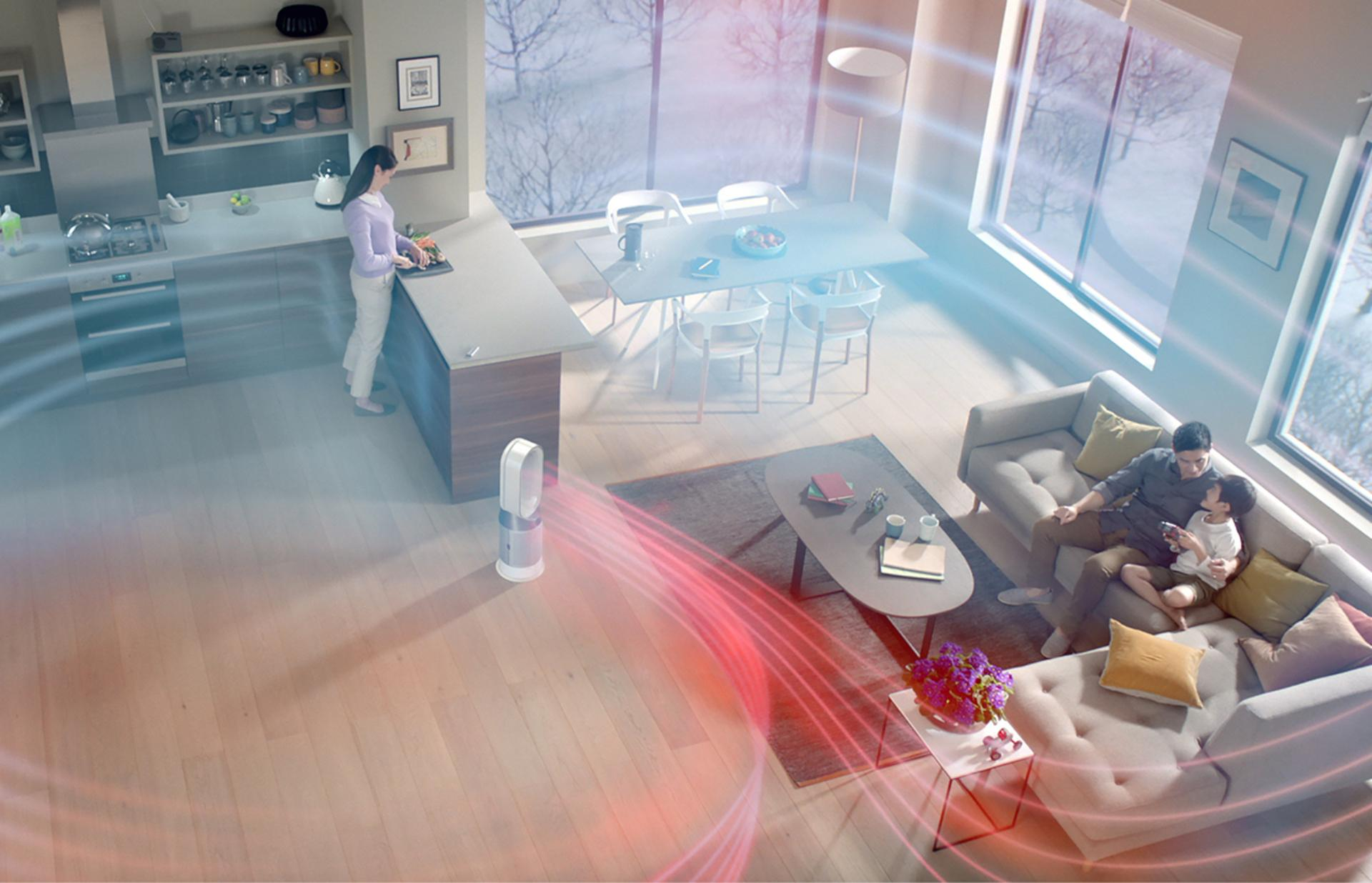 Dyson Pure Hot+Cool purifying fan heater circulating air around family room
