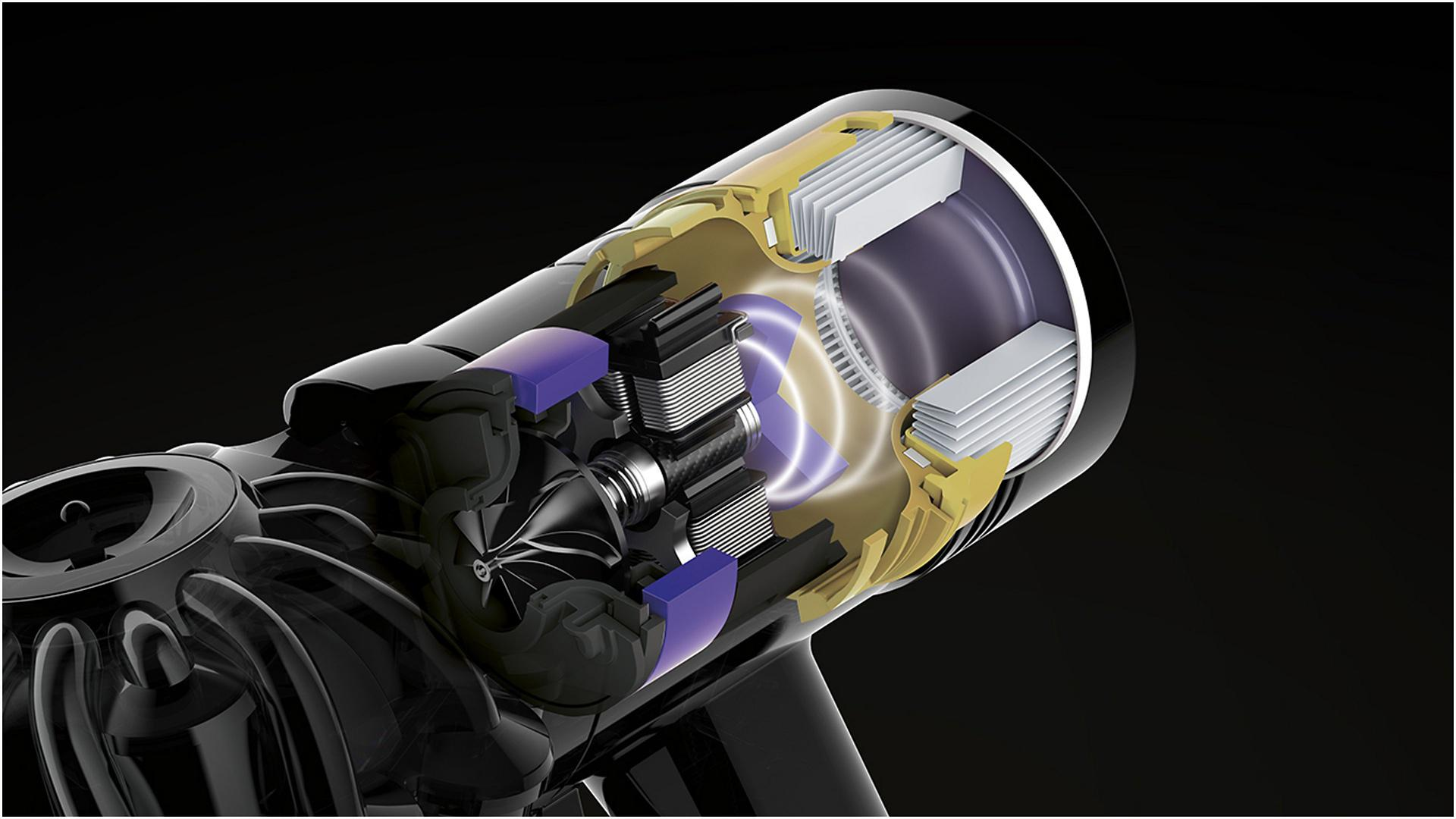 Xray of inner workings of Dyson V7 motor and streamlined airways
