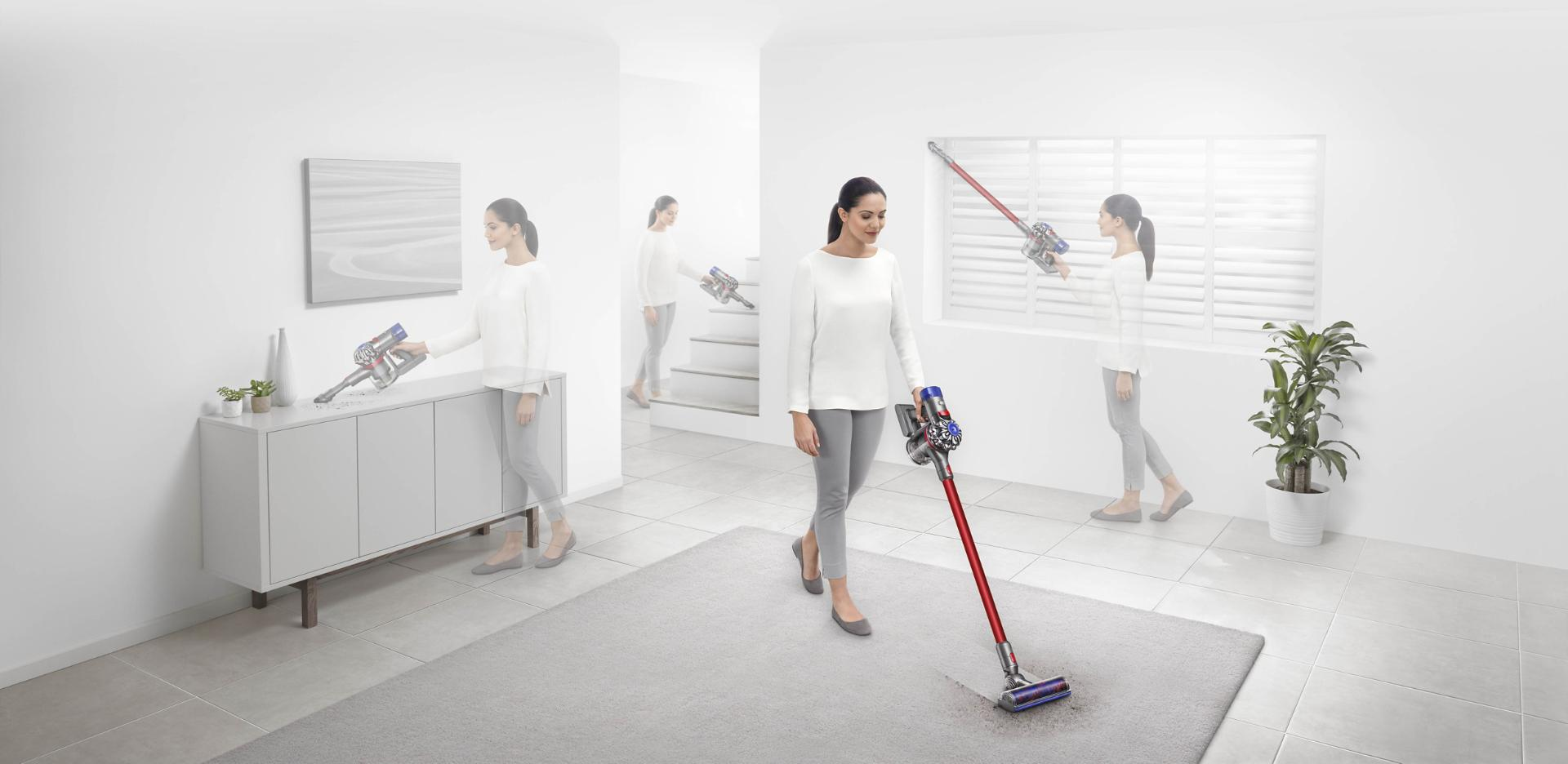Woman using Dyson V7 vacuum cleaner in three different scenarios around the home