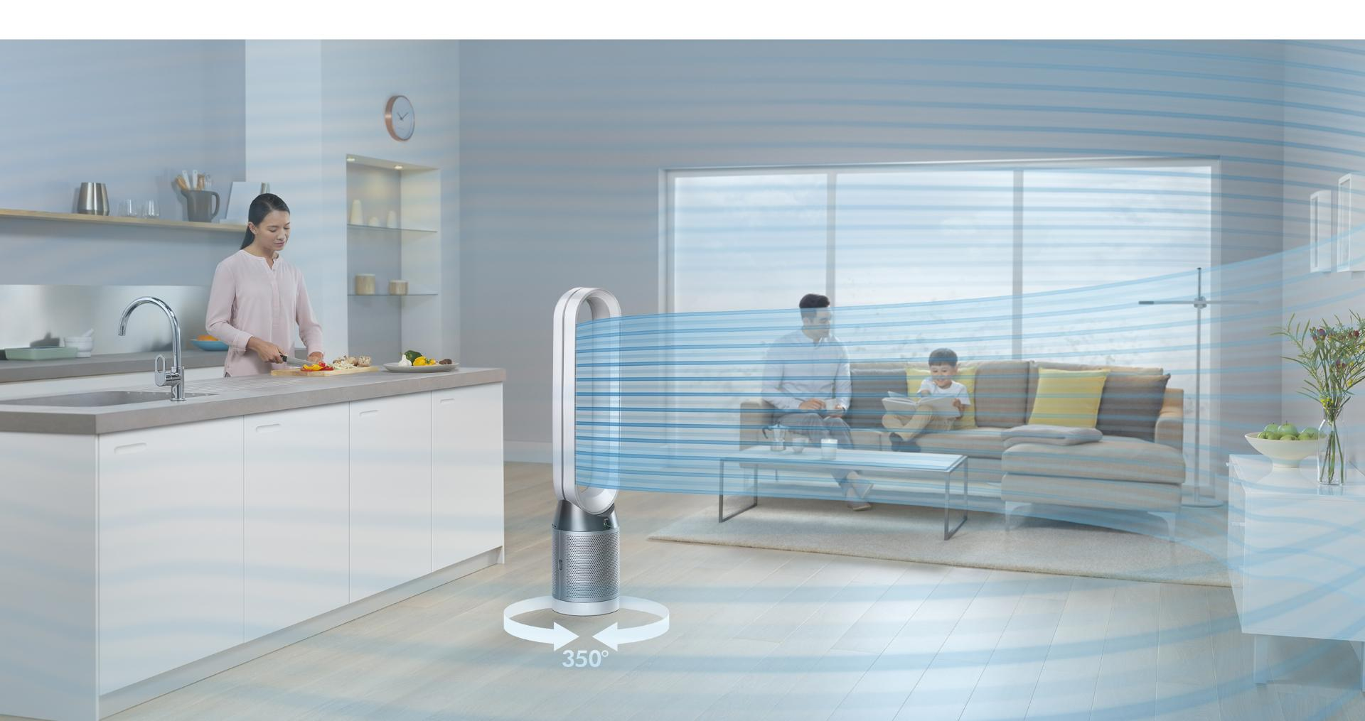 Family home with Dyson Pure Cool purifying fan