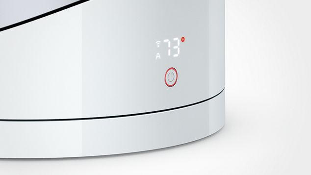 Close up of auto mode display on a Dyson Pure Hot+Cool Link™ fan