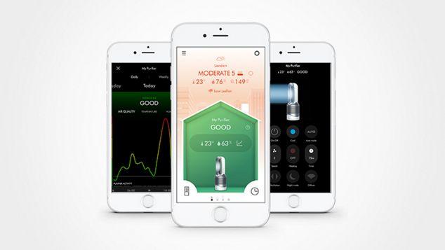 Three smartphone displays of Dyson Link app