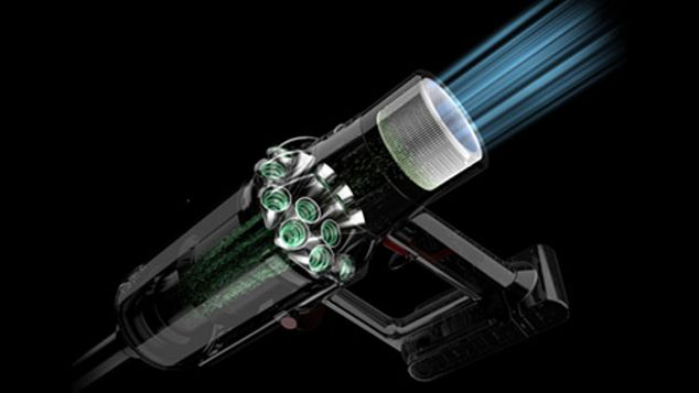 Dyson V10 Absolute cordless vacuum cleaner filter system capturing dirty air