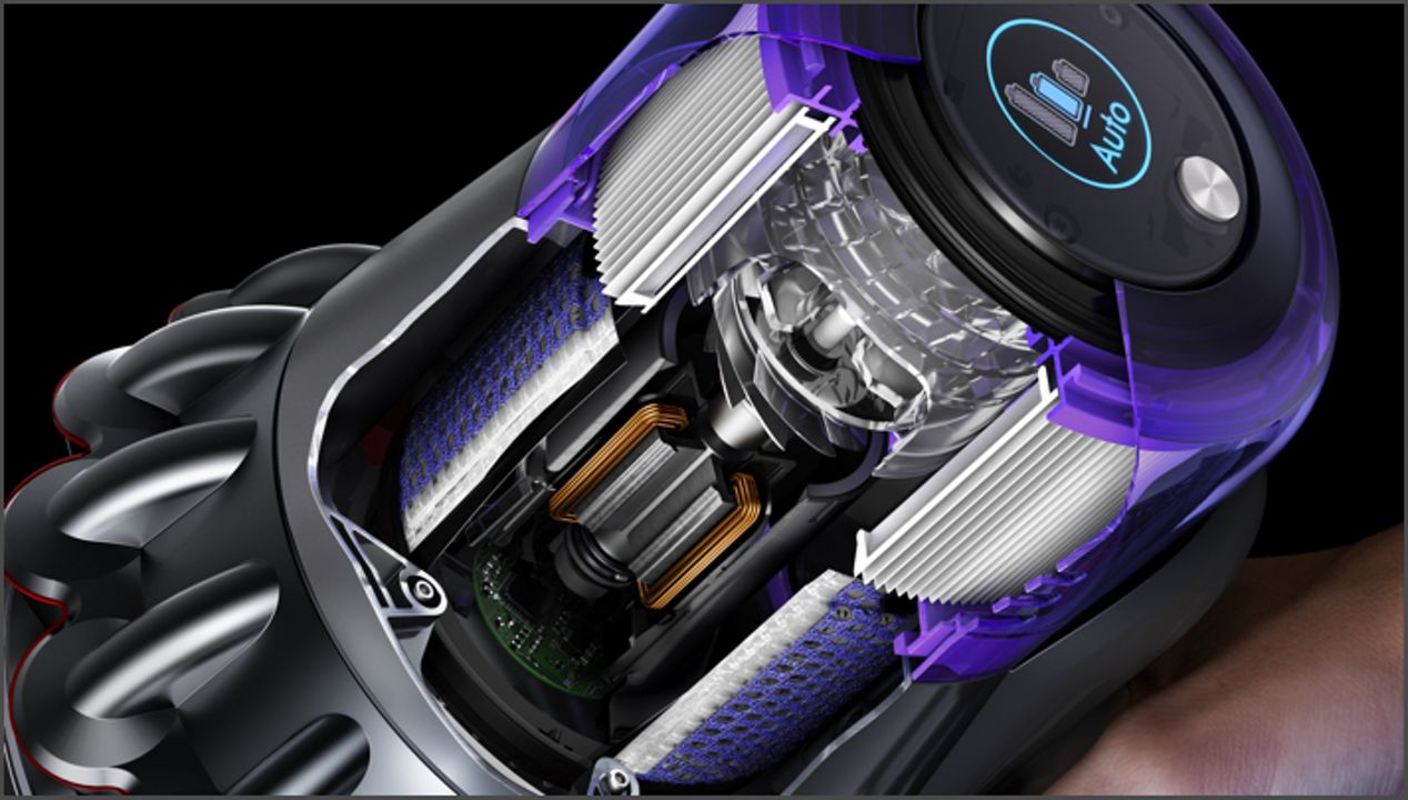 Cutaway of Dyson V11 Outsize vacuum trigger and battery