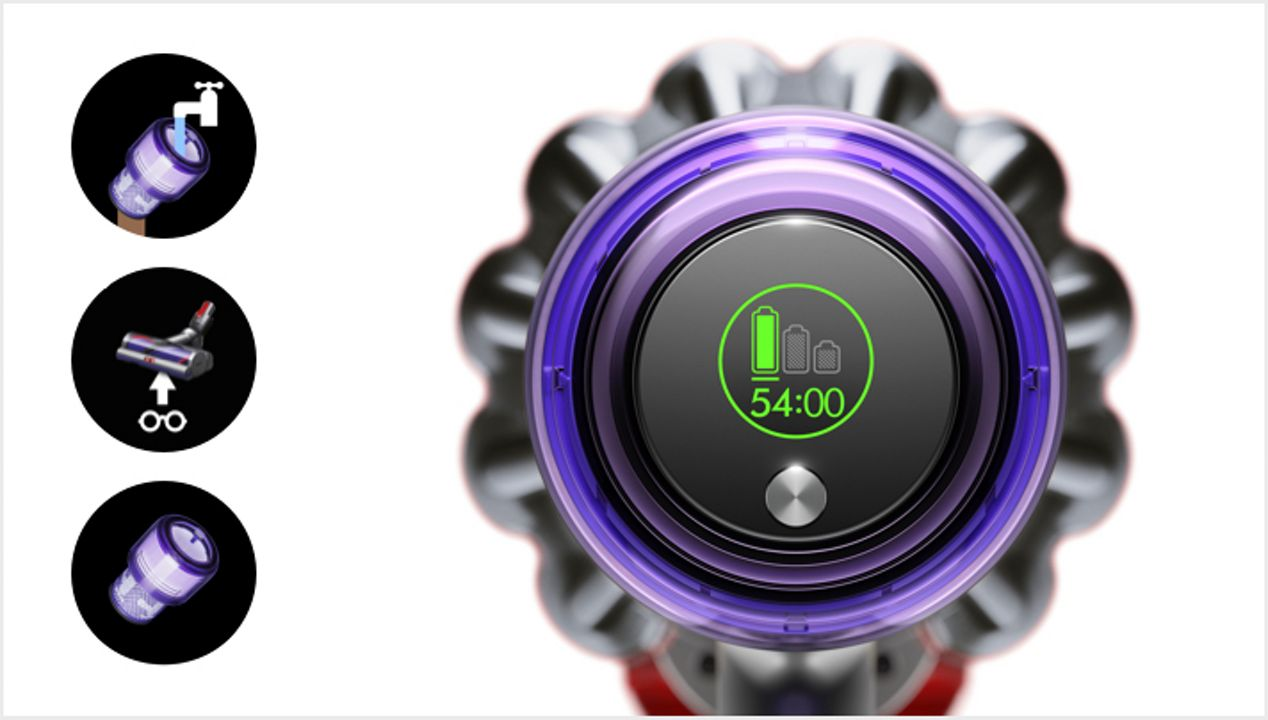 Dyson V11 vacuum LCD screen showing countdown