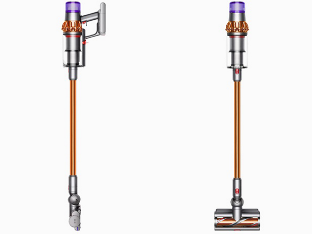Dyson V11 Torque Drive cordless stick vacuum side and front views