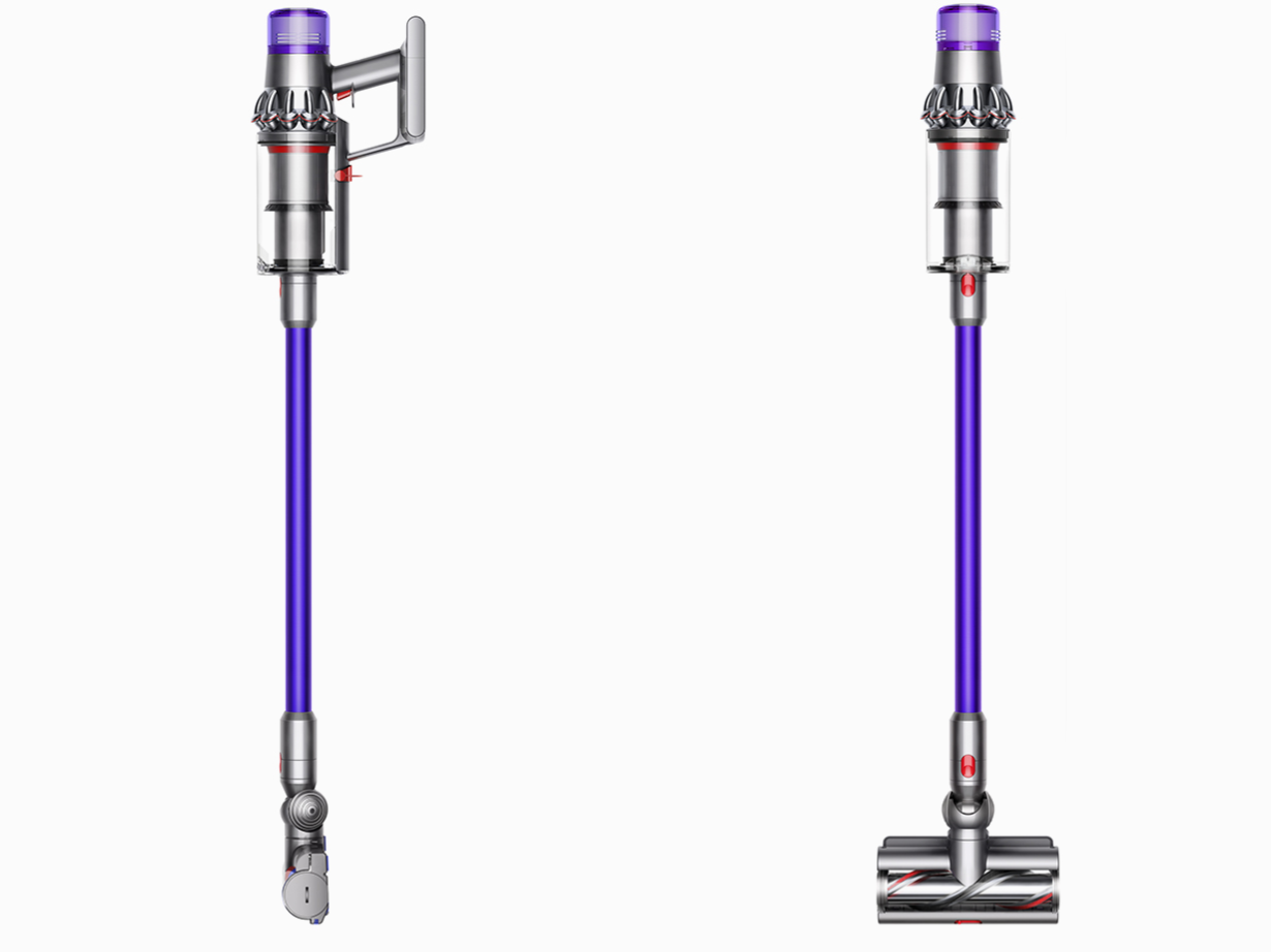 Dyson V11 Animal cordless stick vacuum side and front views
