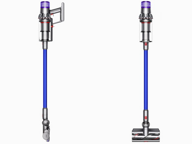 Dyson V11 Absolute cordless stick vacuum side and front views